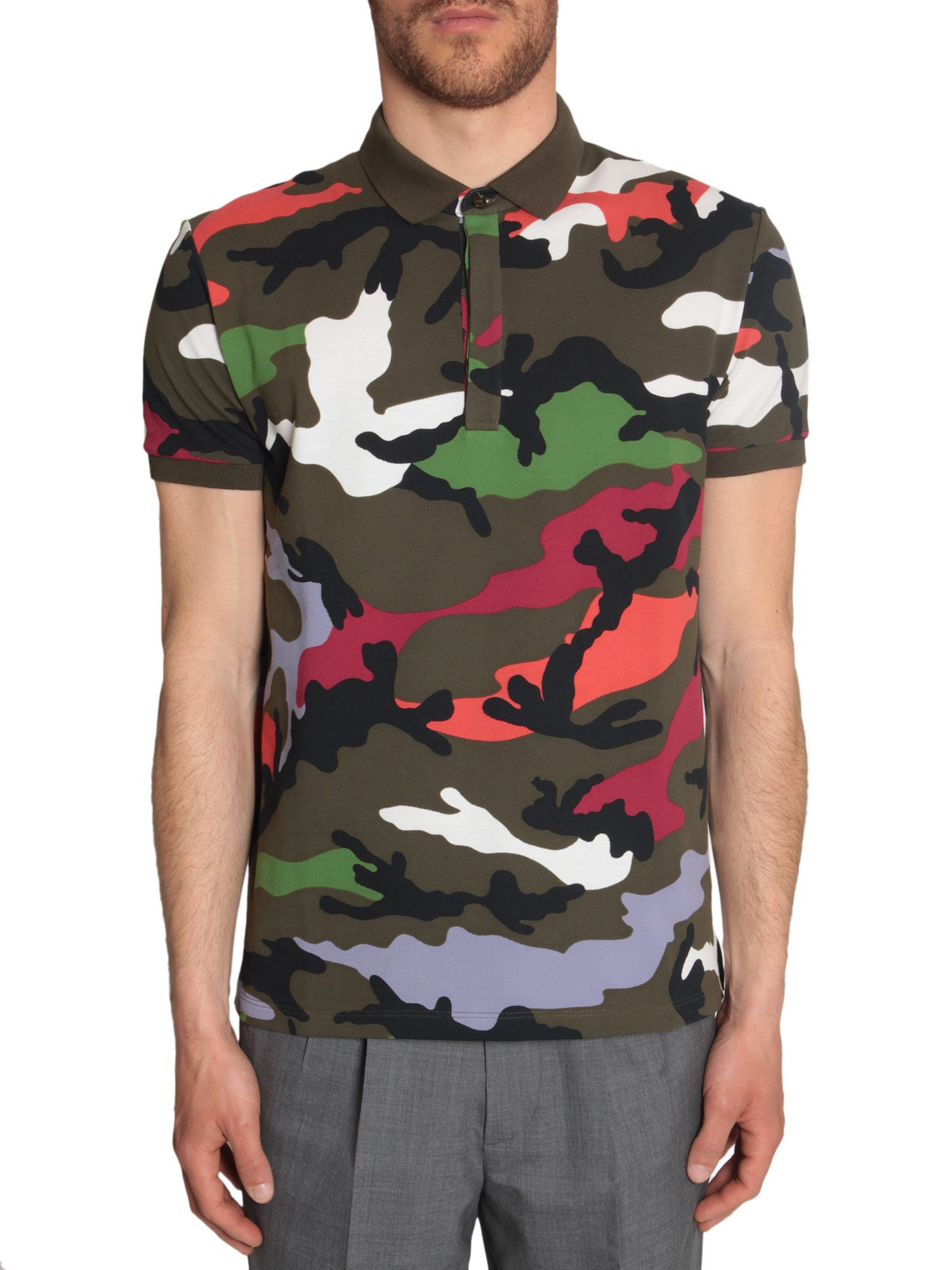Valentino camo print polo shirt in green for men lyst for Camo polo shirts for men