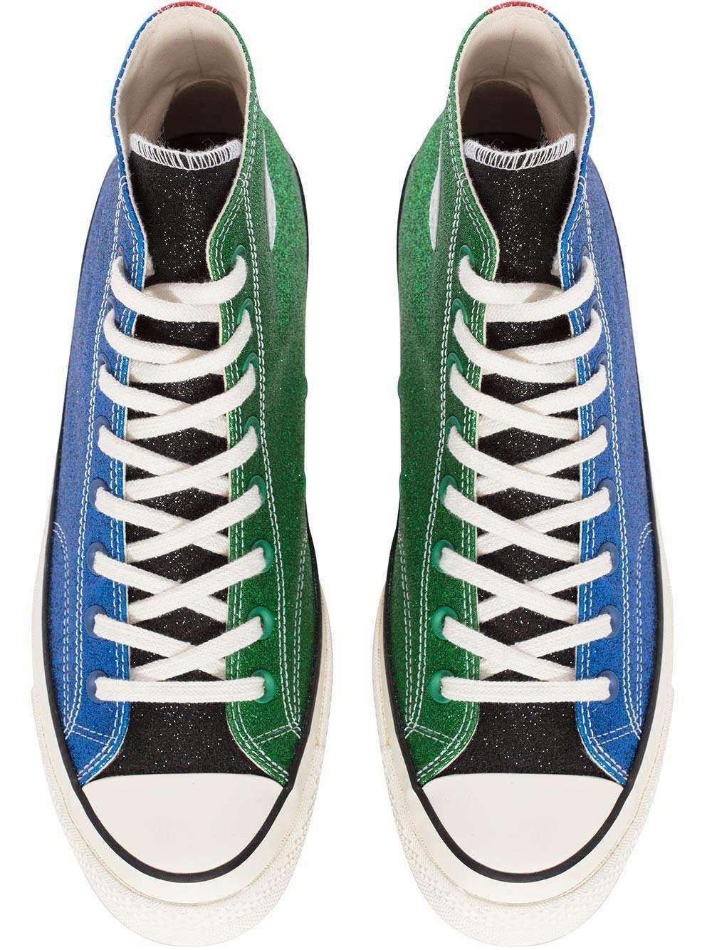 6c14fc436181 Lyst - JW Anderson Womens Blue   Green Glitter Chuck Taylor Converse ...