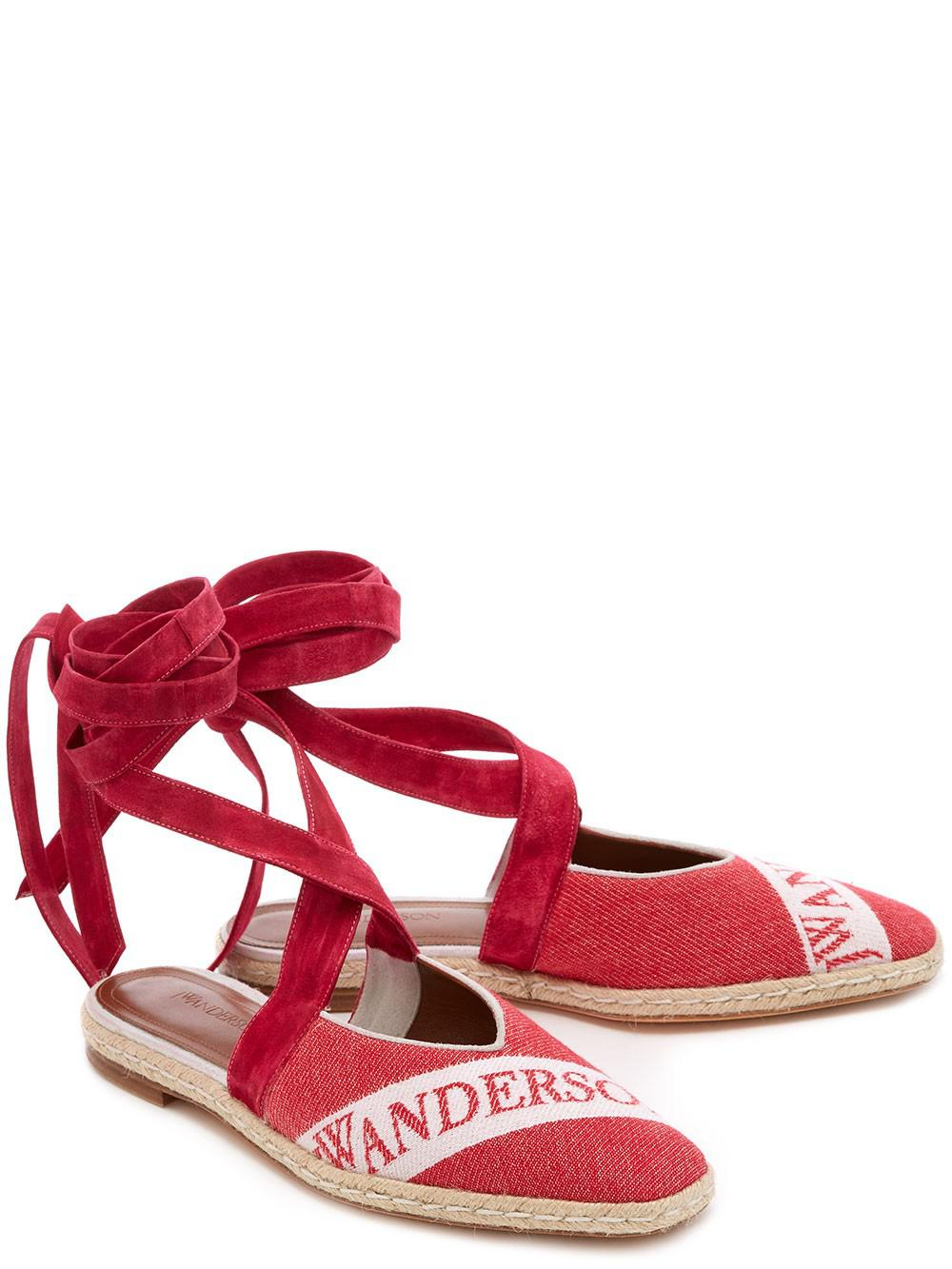 Ruby Red 25 Logo Ballerina Leather Espadrilles J.W.Anderson Vnh4LN