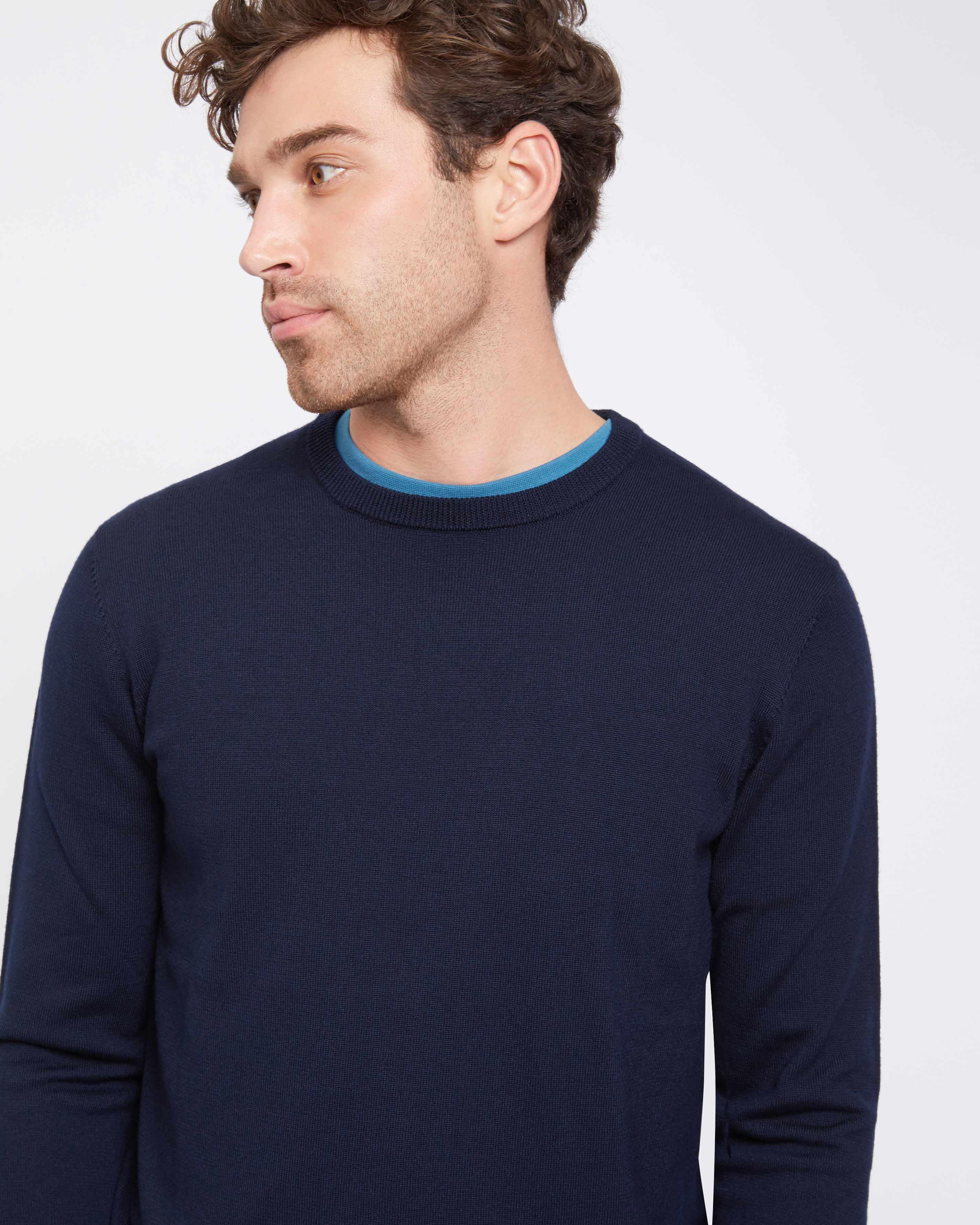 Jaeger Wool Merino Contrast Crew Neck Sweater in Navy (Blue) for Men
