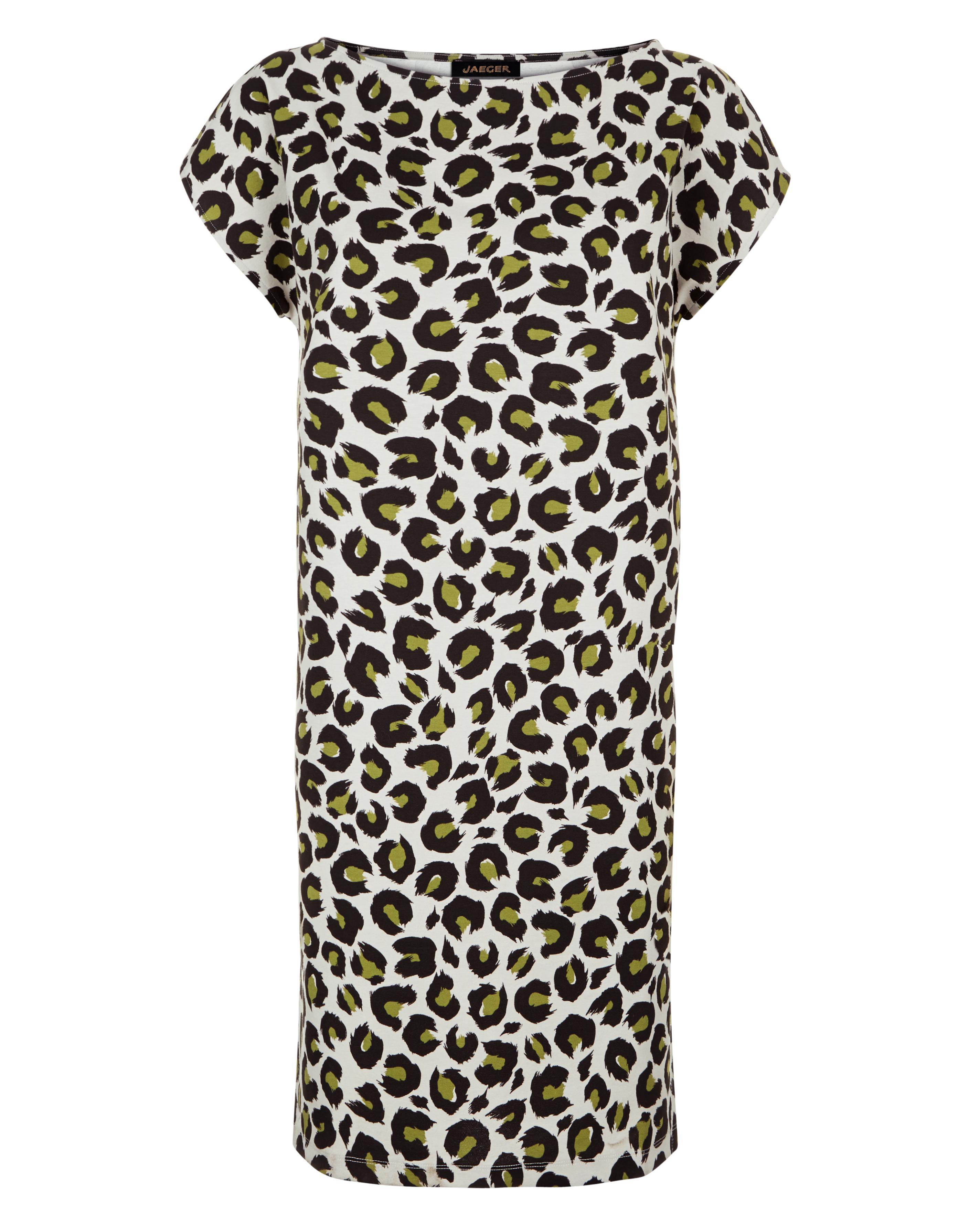 Lyst - Jaeger Jersey Animal Print Dress in Black 0df1dbcf6