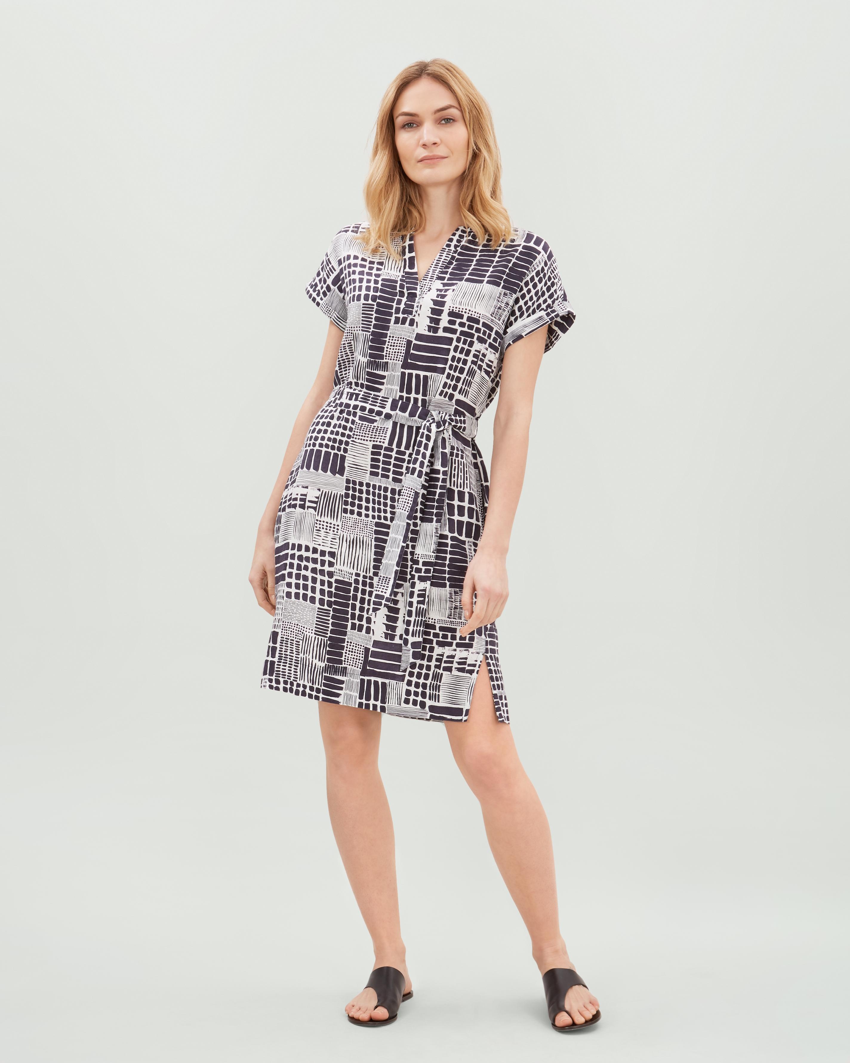 Lyst - Jaeger Tile Print Linen Seam Detail Dress in Blue e0b96a33f