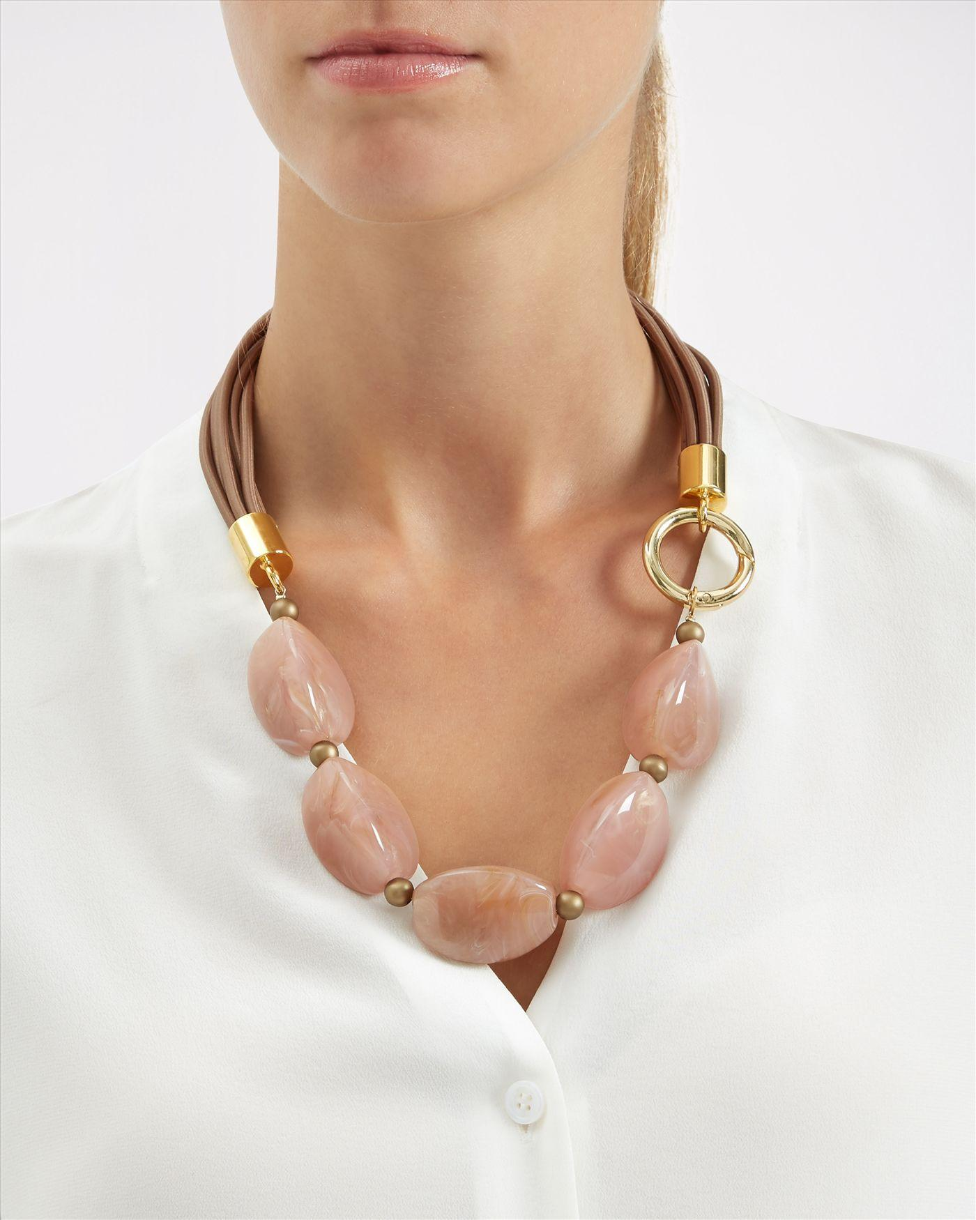 Jaeger Synthetic Oversized Bead Necklace in Pink