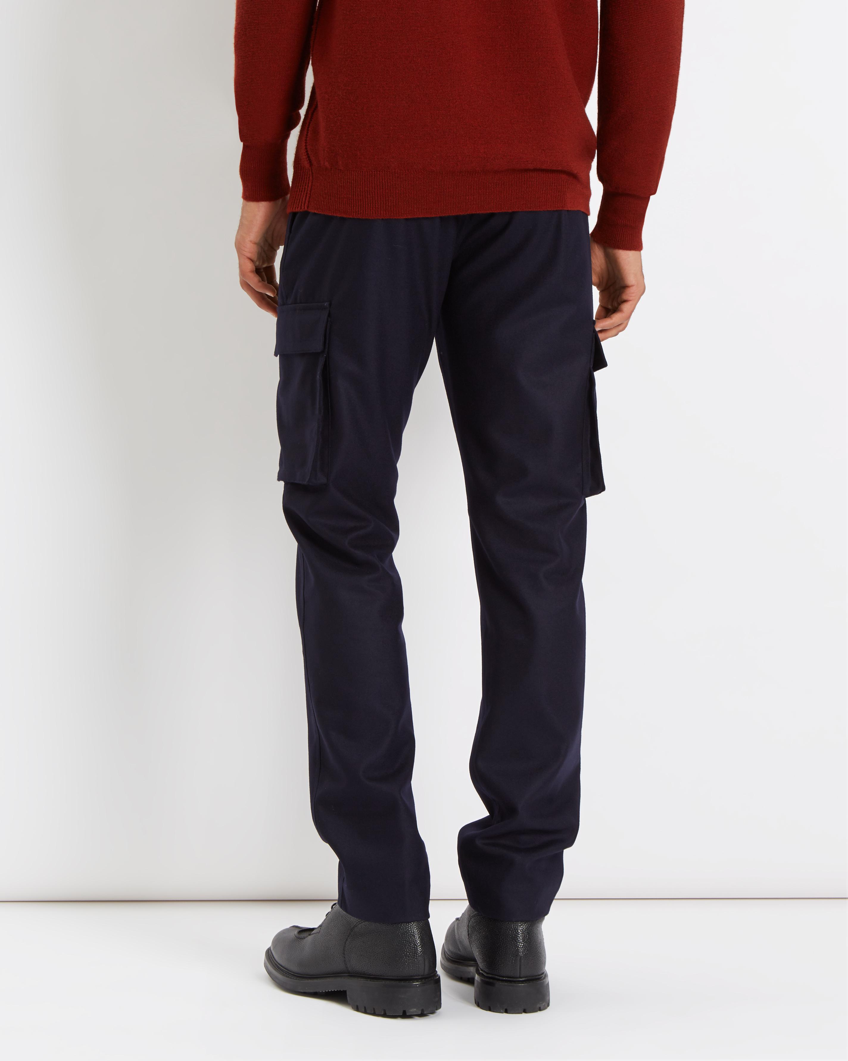 Jaeger Cotton Lou Dalton Cargo Trousers in Navy (Blue) for Men