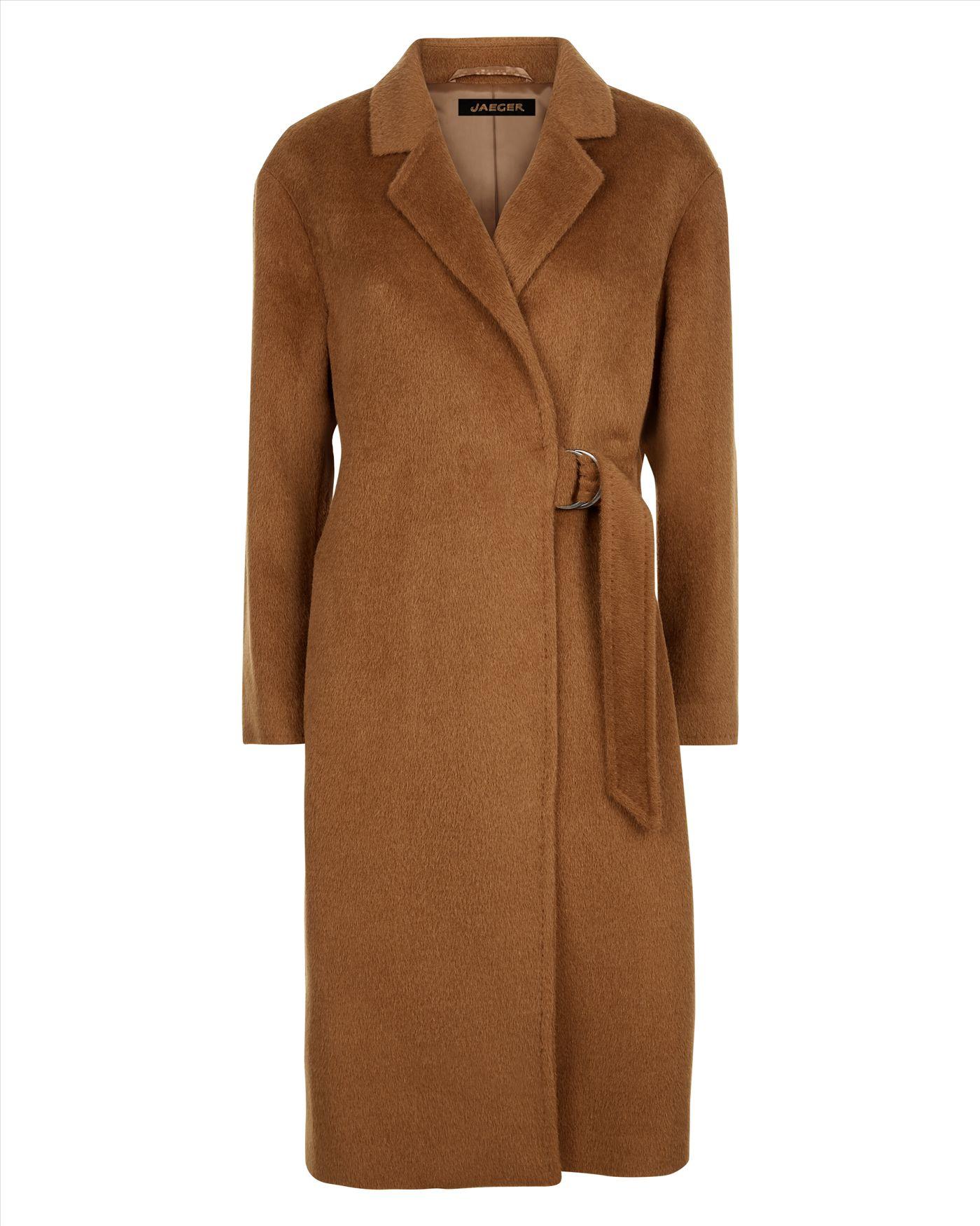 Jaeger Alpaca Wool Half Belt Coat Lyst