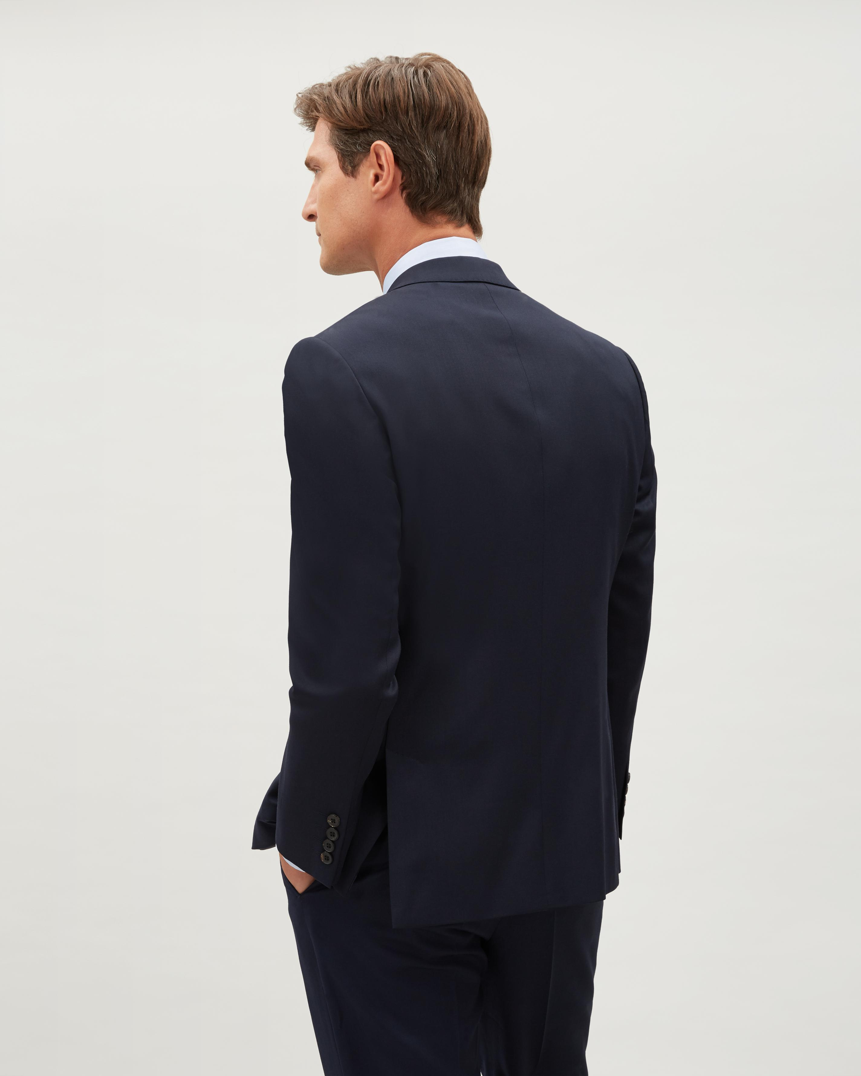 Jaeger Regular Wool Plain Twill Jacket in Navy (Blue) for Men