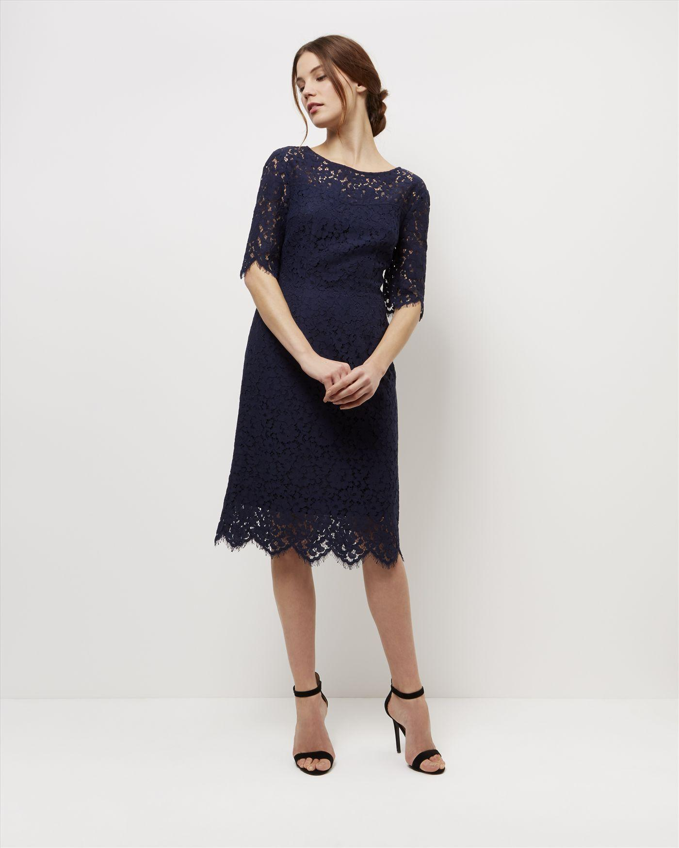Jaeger Open Back Lace Dress In Blue Lyst