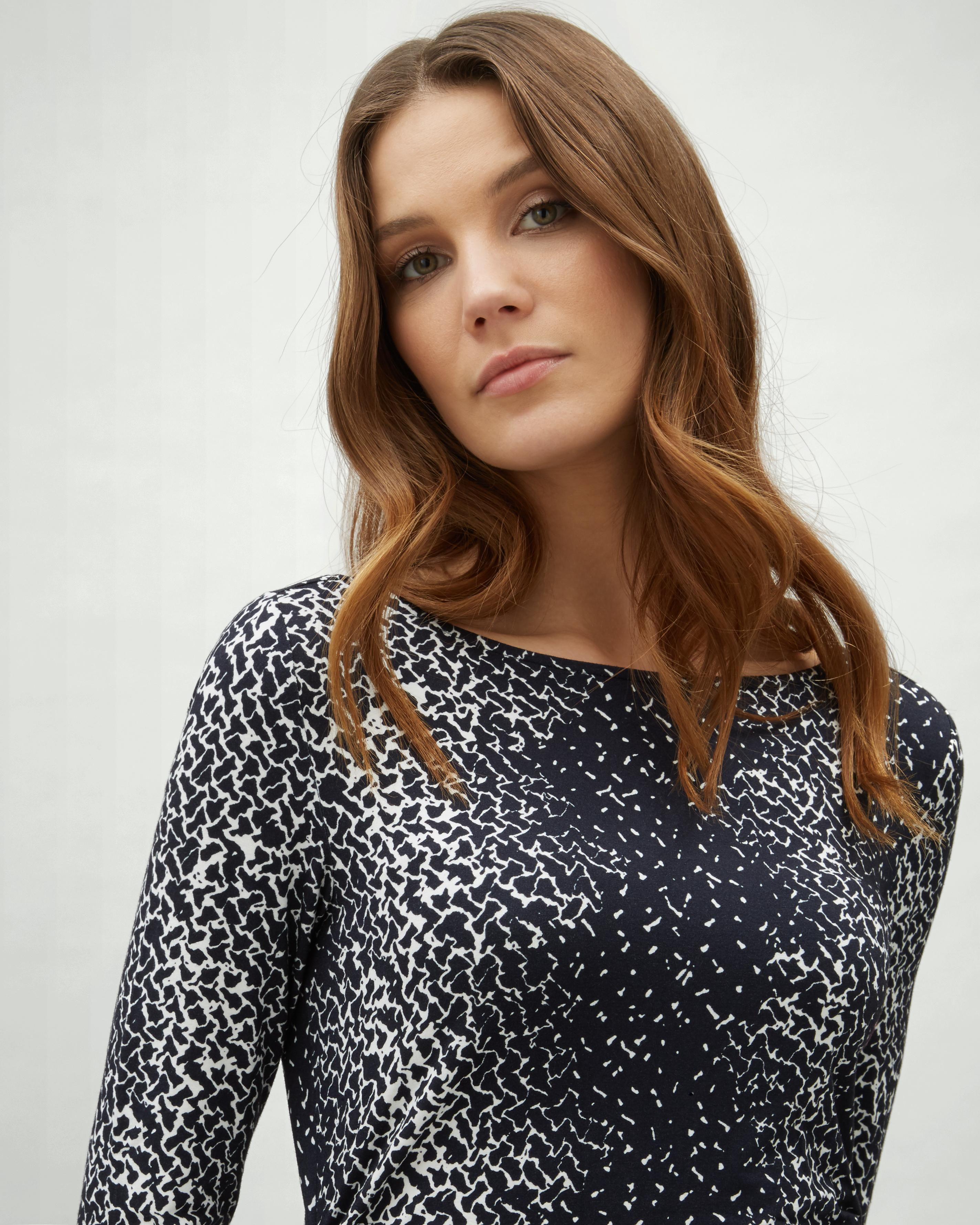 Jaeger Synthetic Speckle Print Side Gathered Jersey Dress