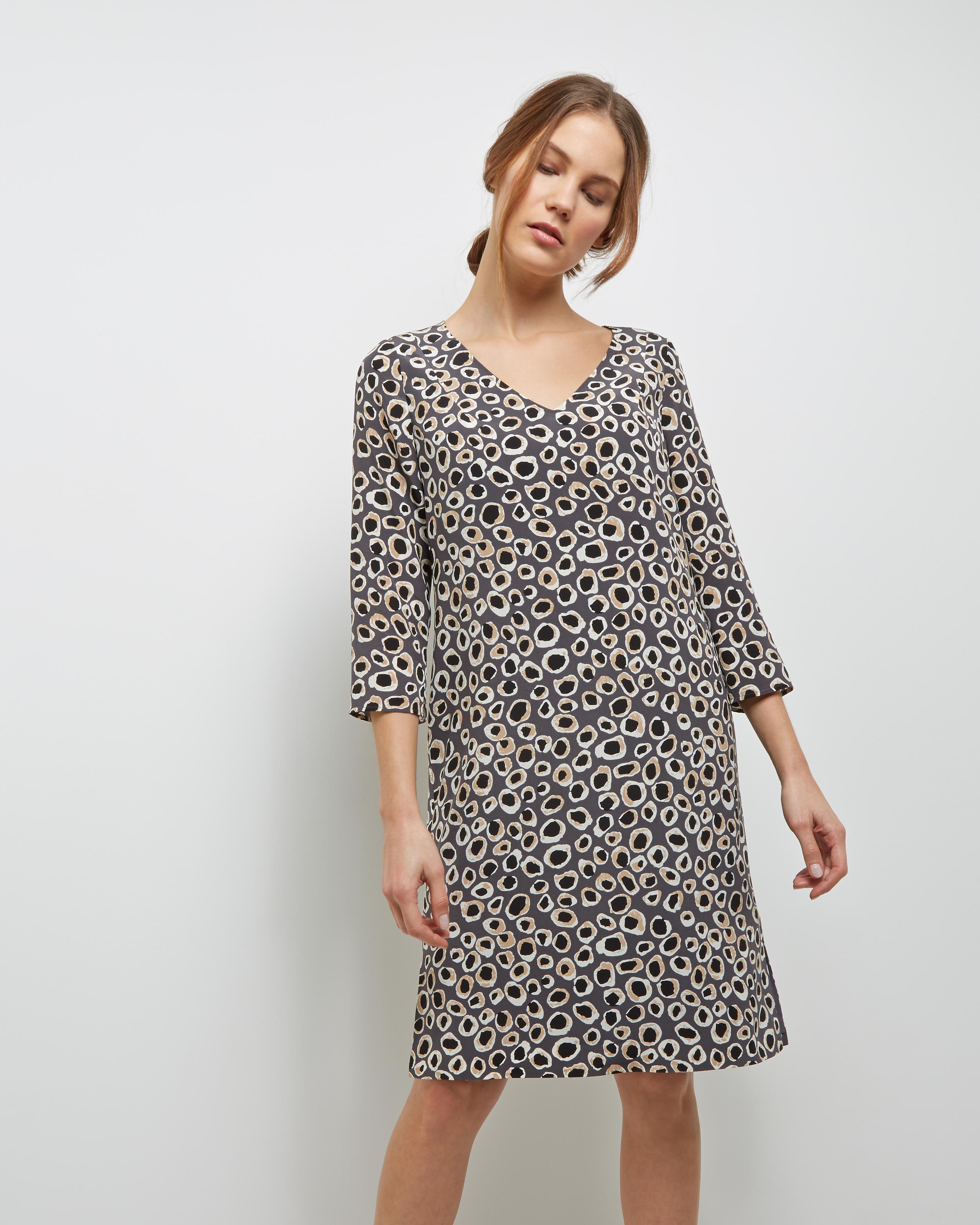 Lyst - Jaeger Silk Spot Animal Print Dress in Gray 50f909651