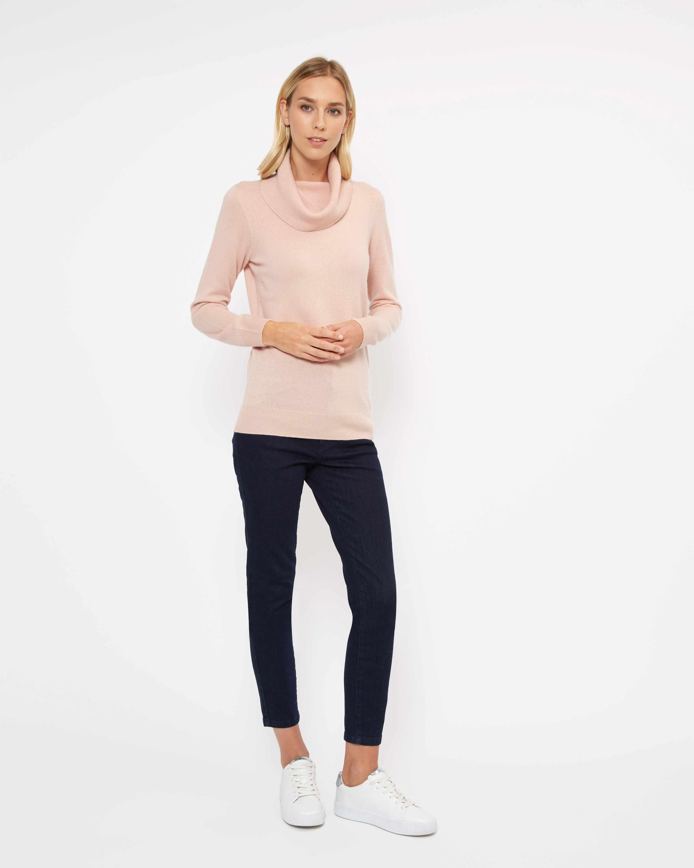 Jaeger Cashmere Cowl Neck Sweater In Pale Pink Pink Lyst