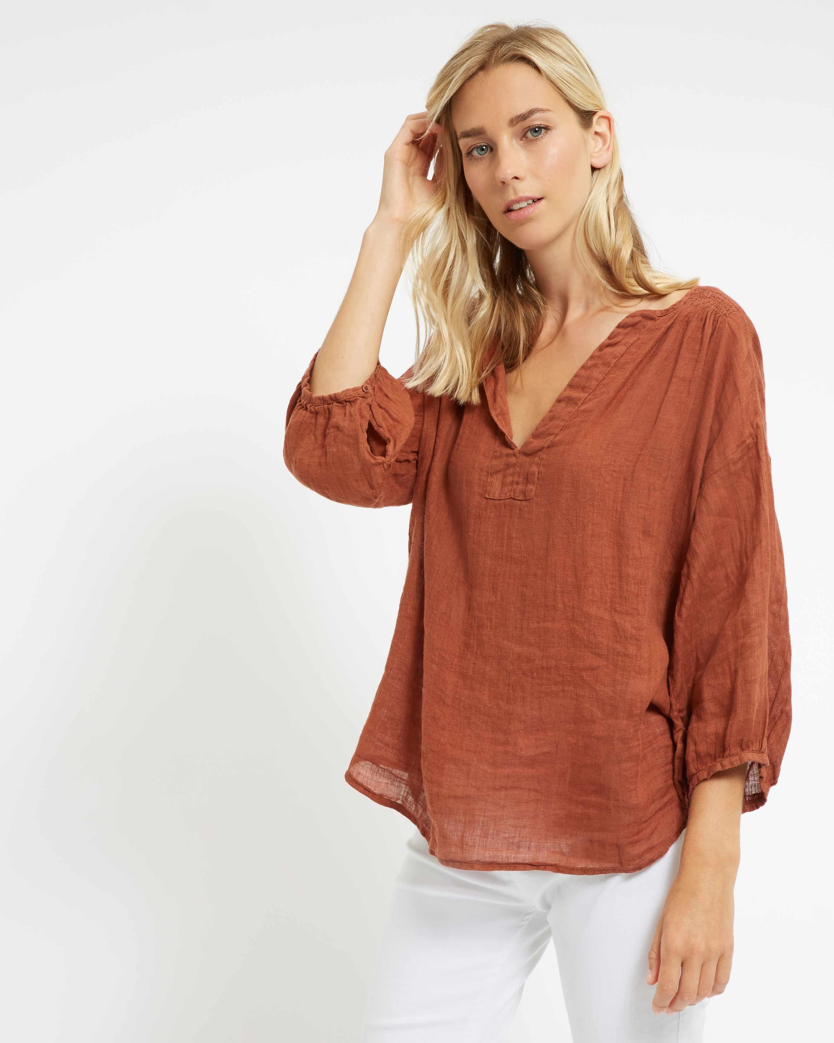 2f176727005 Jaeger Gauze Linen Tunic in Brown - Lyst
