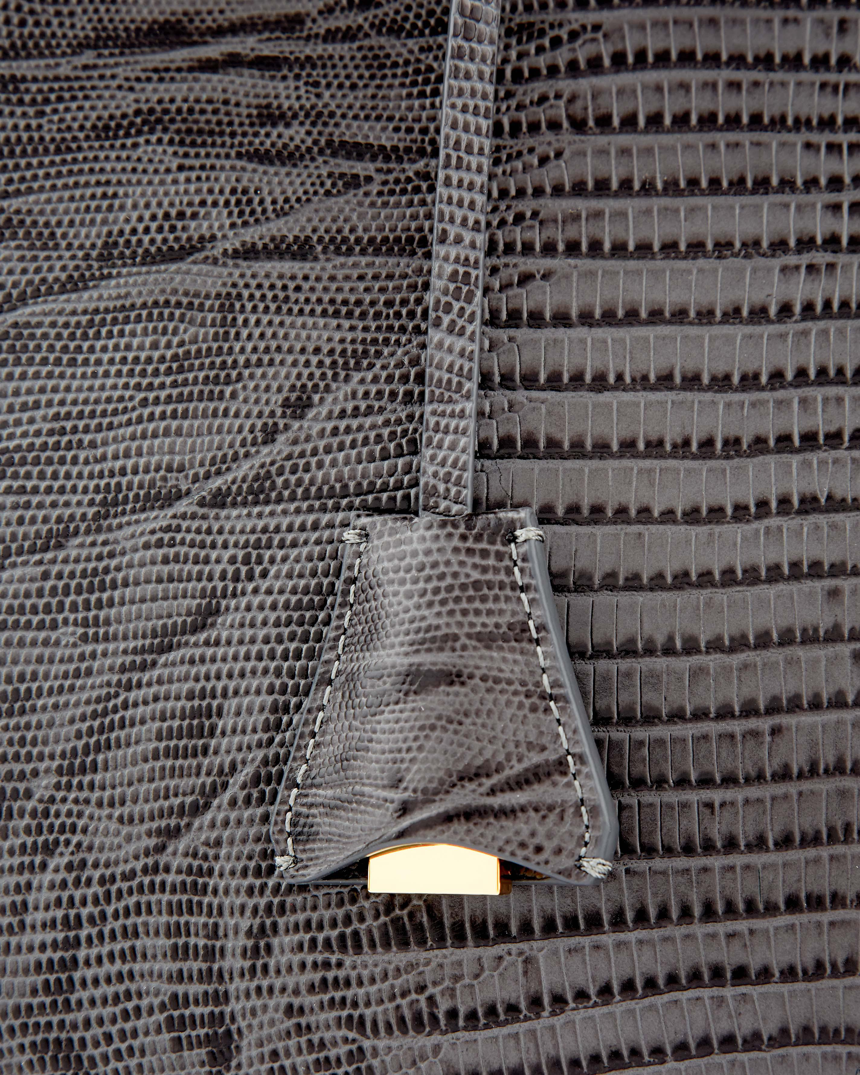 Jaeger Latimer Leather Lizard Tote in Grey (Grey)