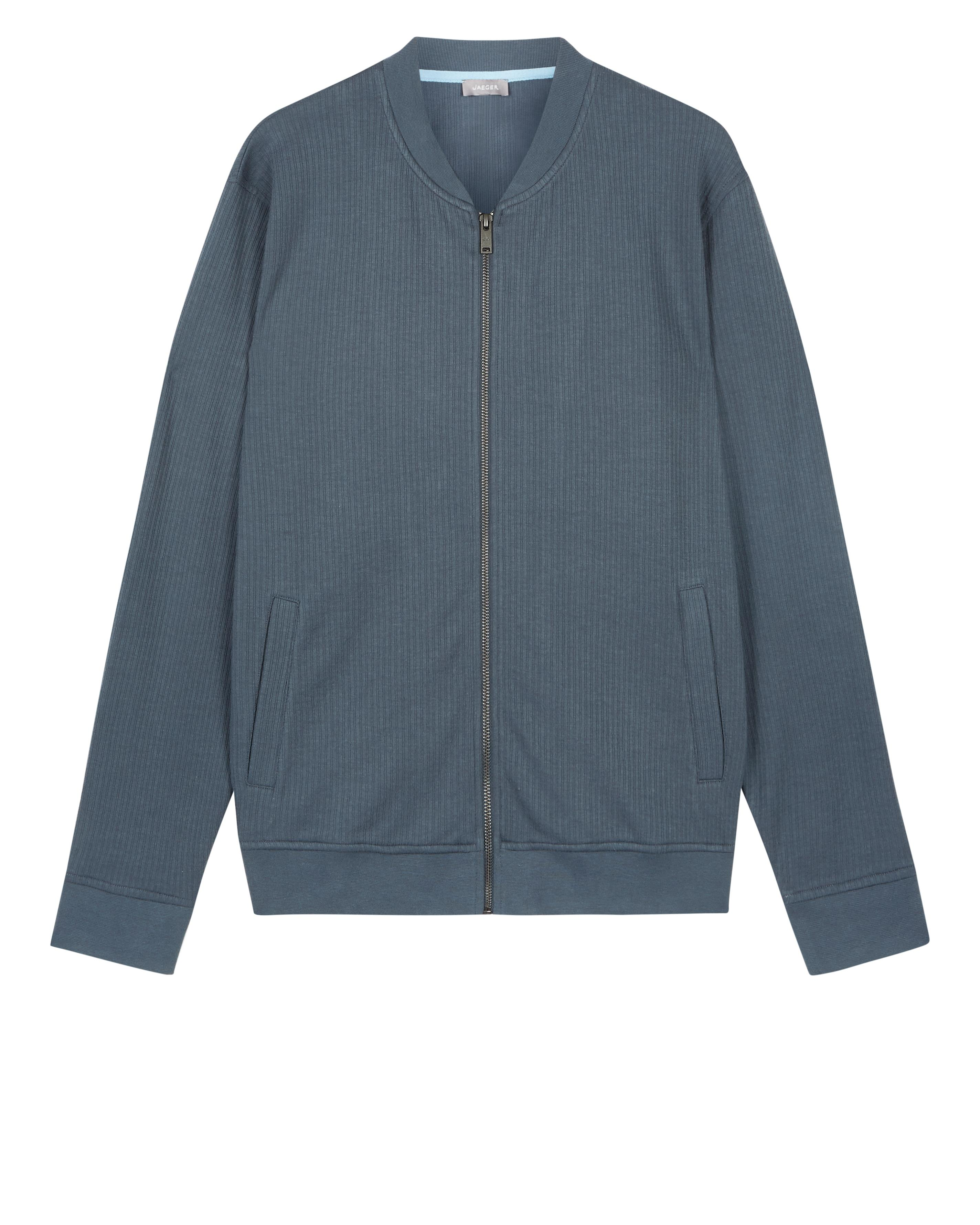 Jaeger Cotton Micro Texture Jersey Bomber in Blue for Men