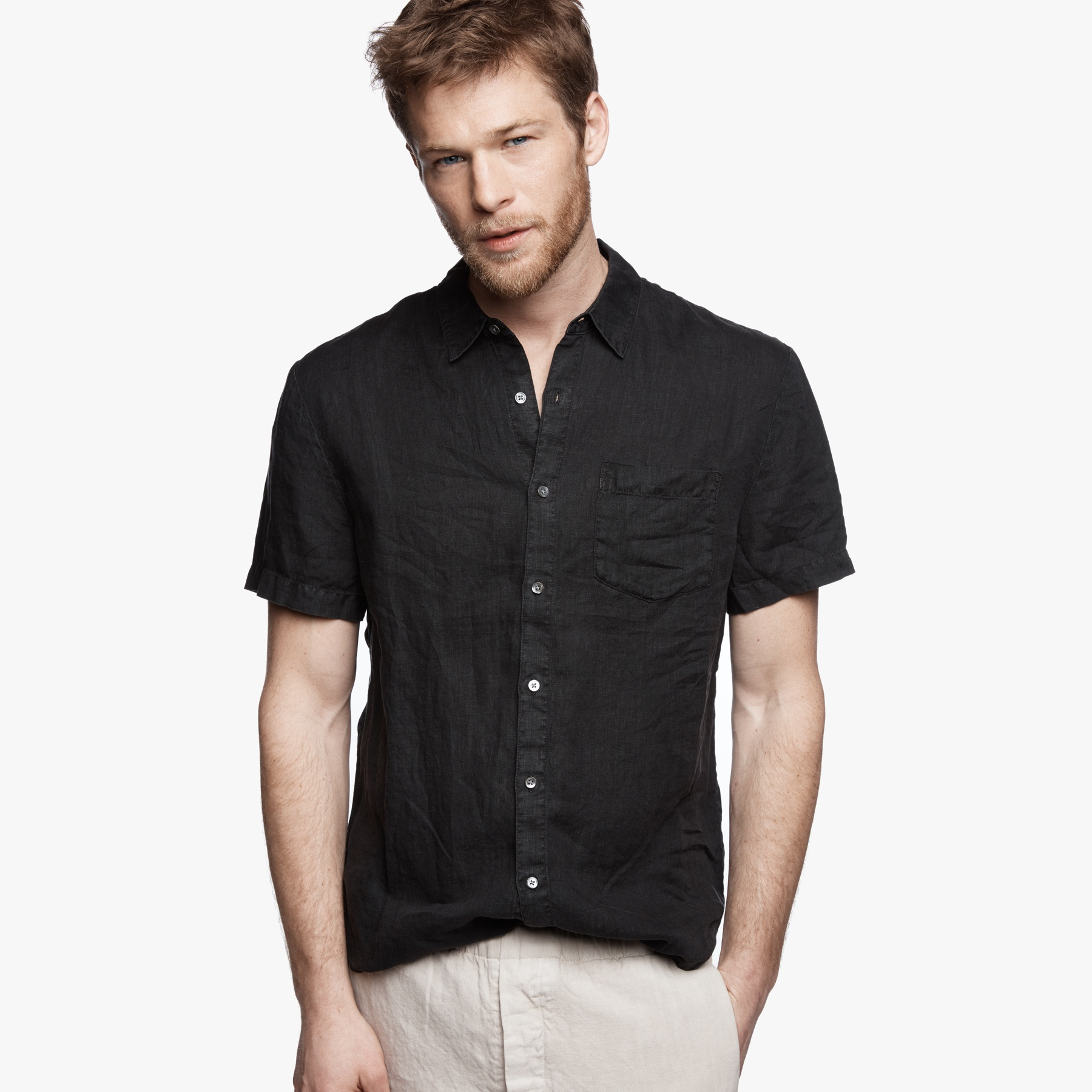 James perse Linen Shirt in Black for Men | Lyst