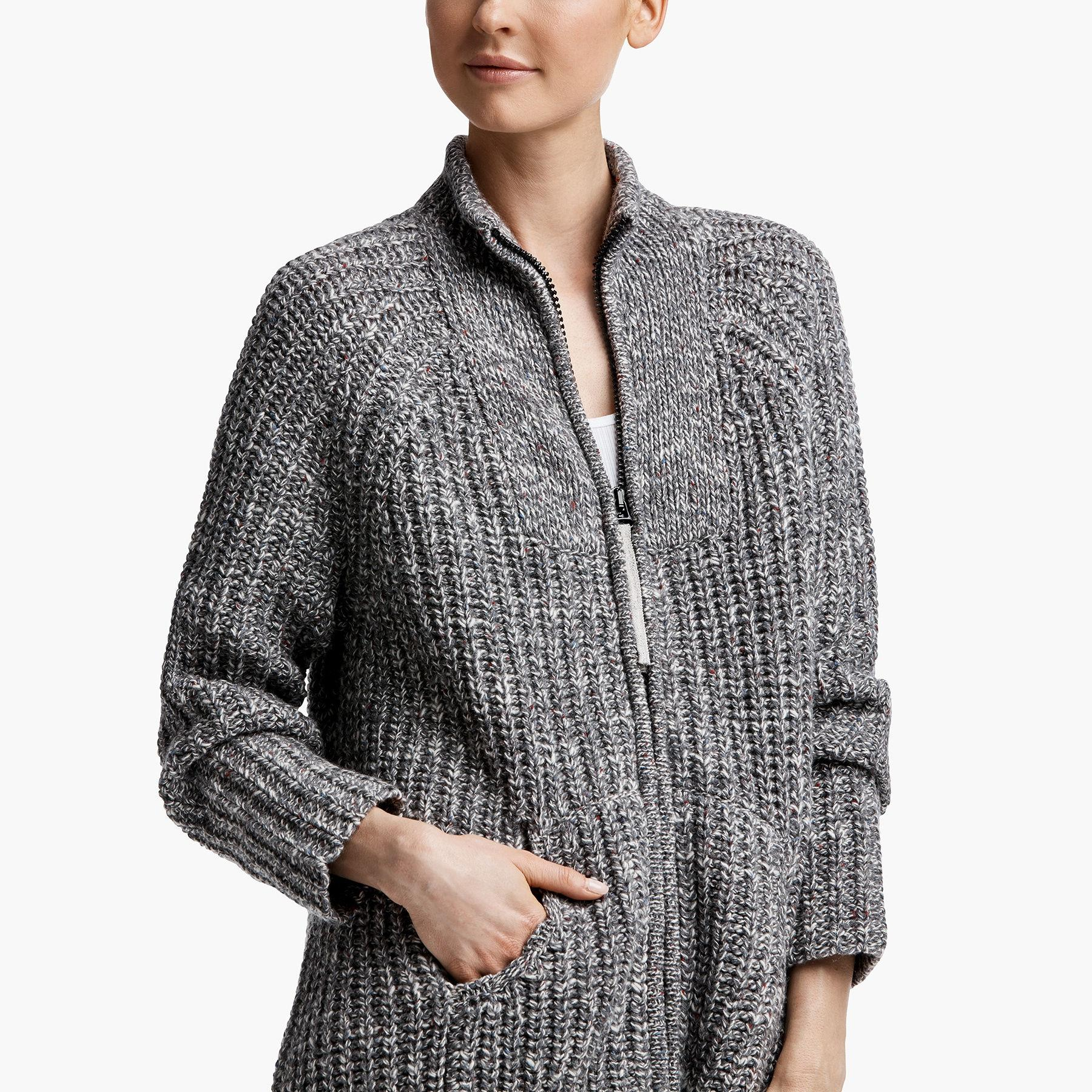 James Perse Wool Ribbed Zip-up Cardigan in Grey