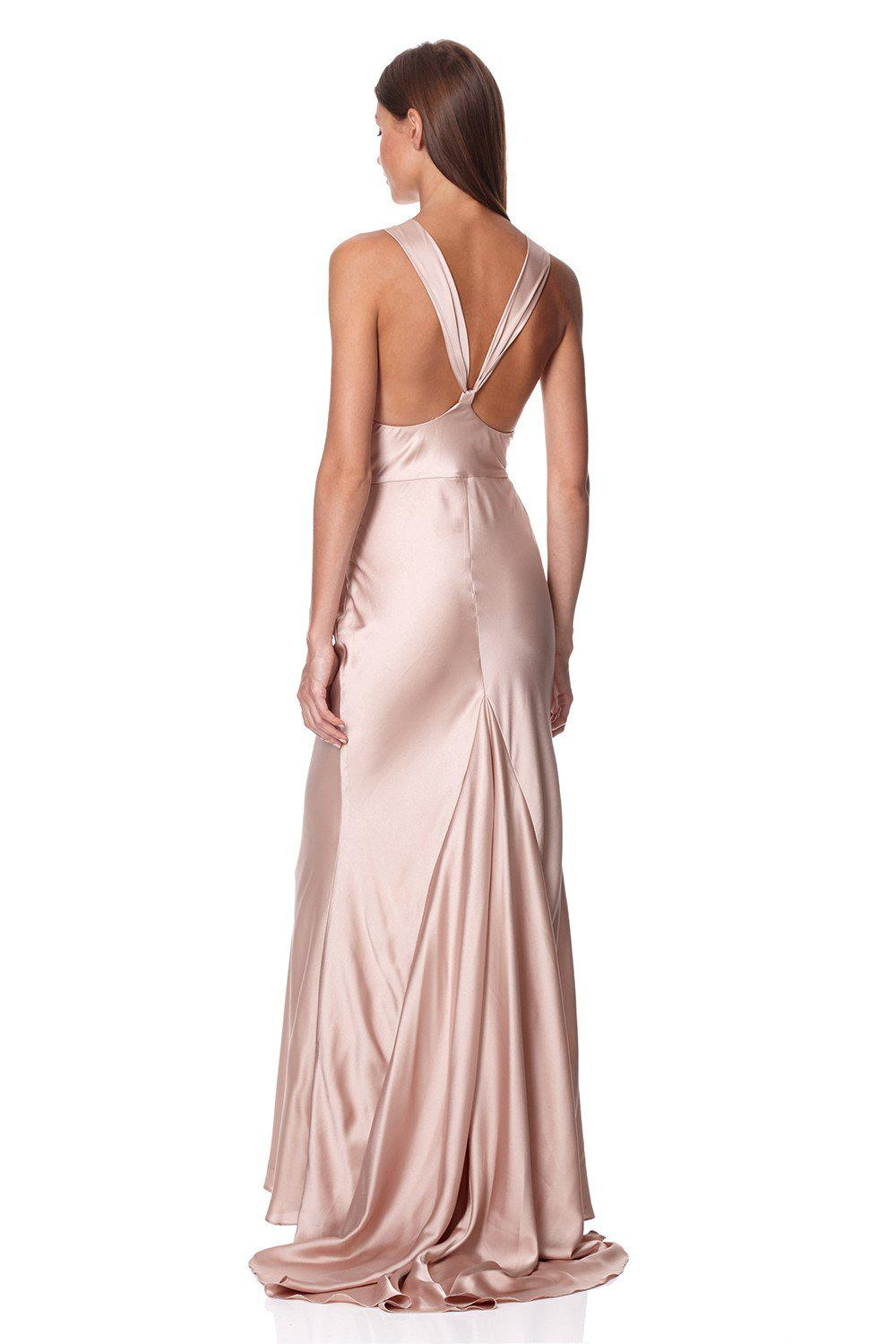 9000b3177811 Jarlo Mika Slinky Cowl Front Maxi Dress With Strappy Back Detail - Lyst