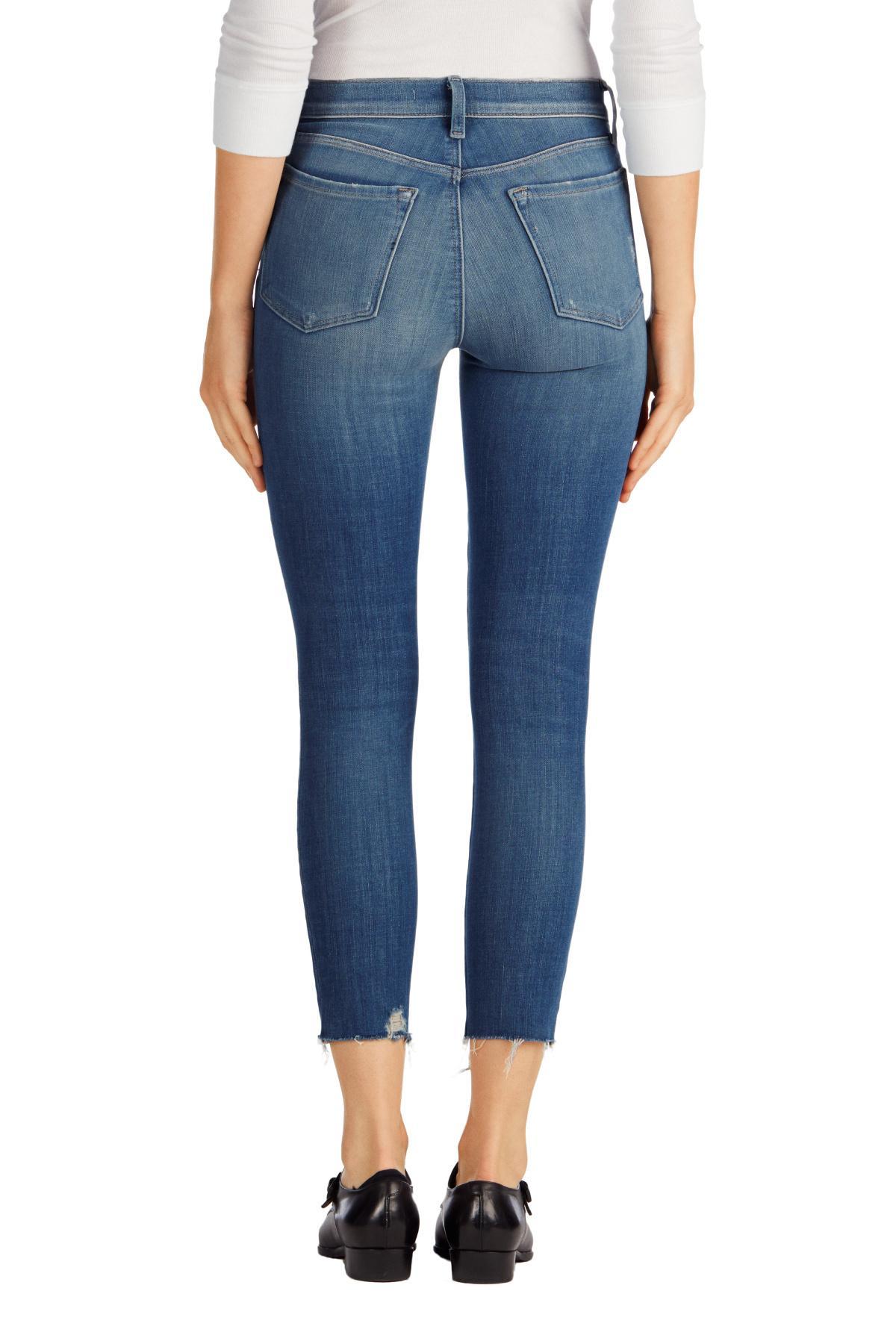 lyst j brand alana high waist crop skinny jeans in blue. Black Bedroom Furniture Sets. Home Design Ideas
