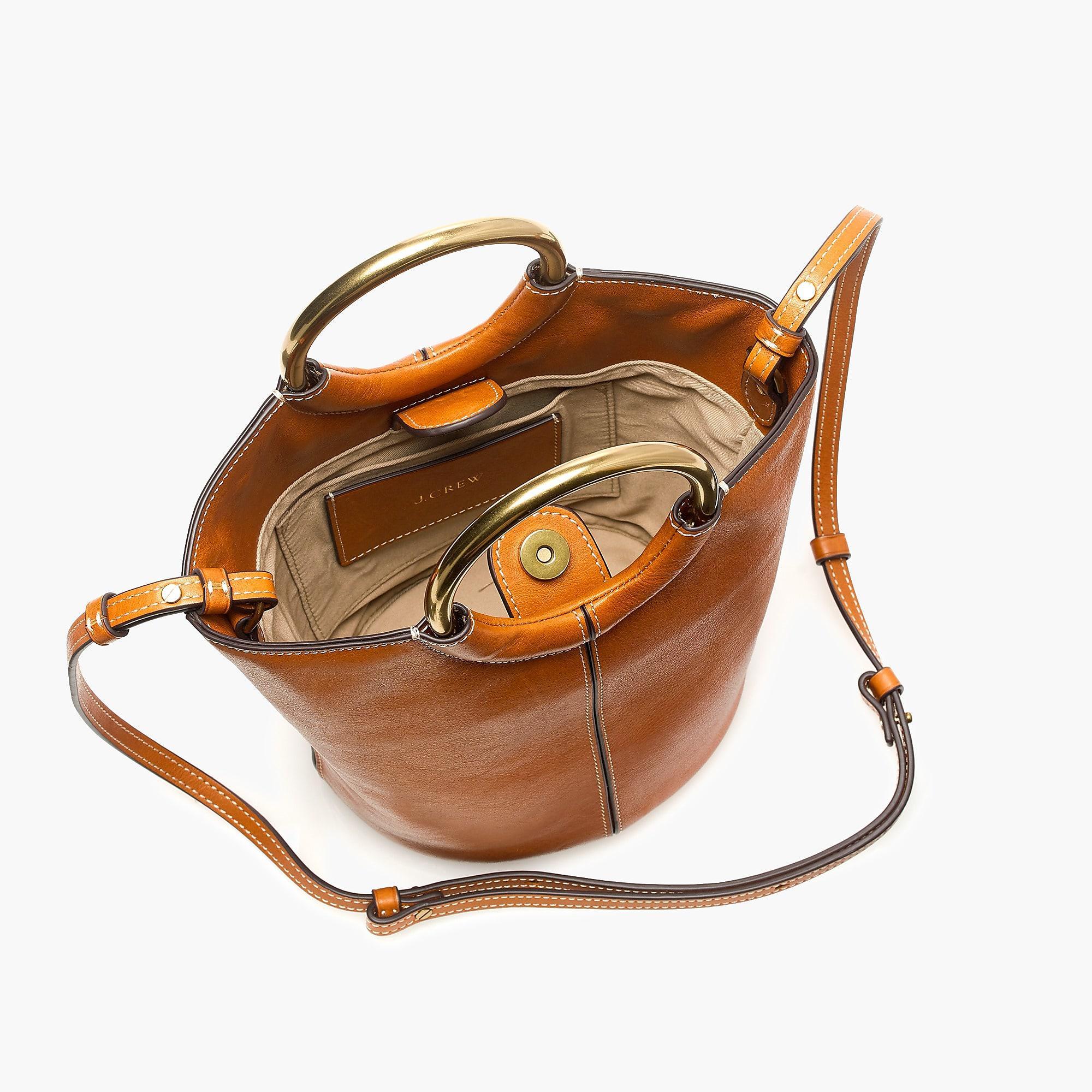 fd76607844f5 J.Crew Bracelet Bucket Bag In Italian Leather in Brown - Save 11% - Lyst