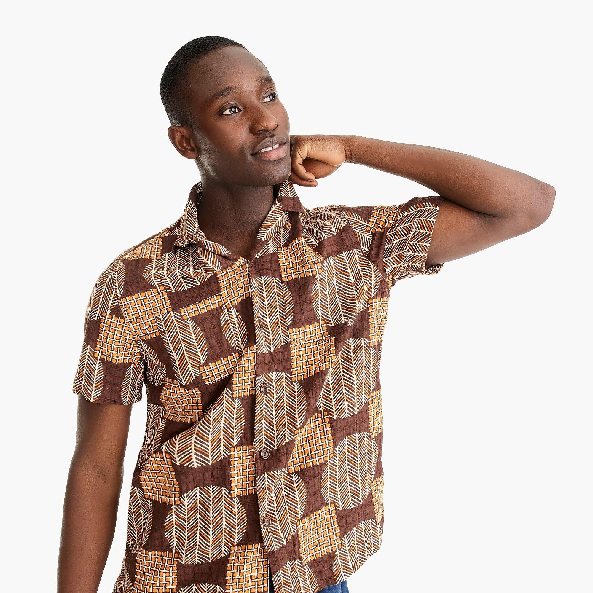 J.Crew Wallace /& Barnes Camp Collar Printed Men/'s Cotton Shirt