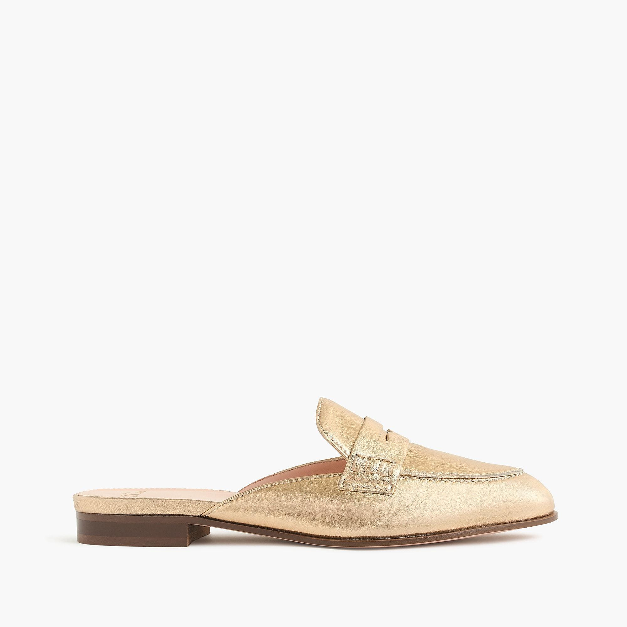 7466a15aa61 Lyst - J.Crew Academy Penny-loafer Mules In Metallic Leather in Metallic