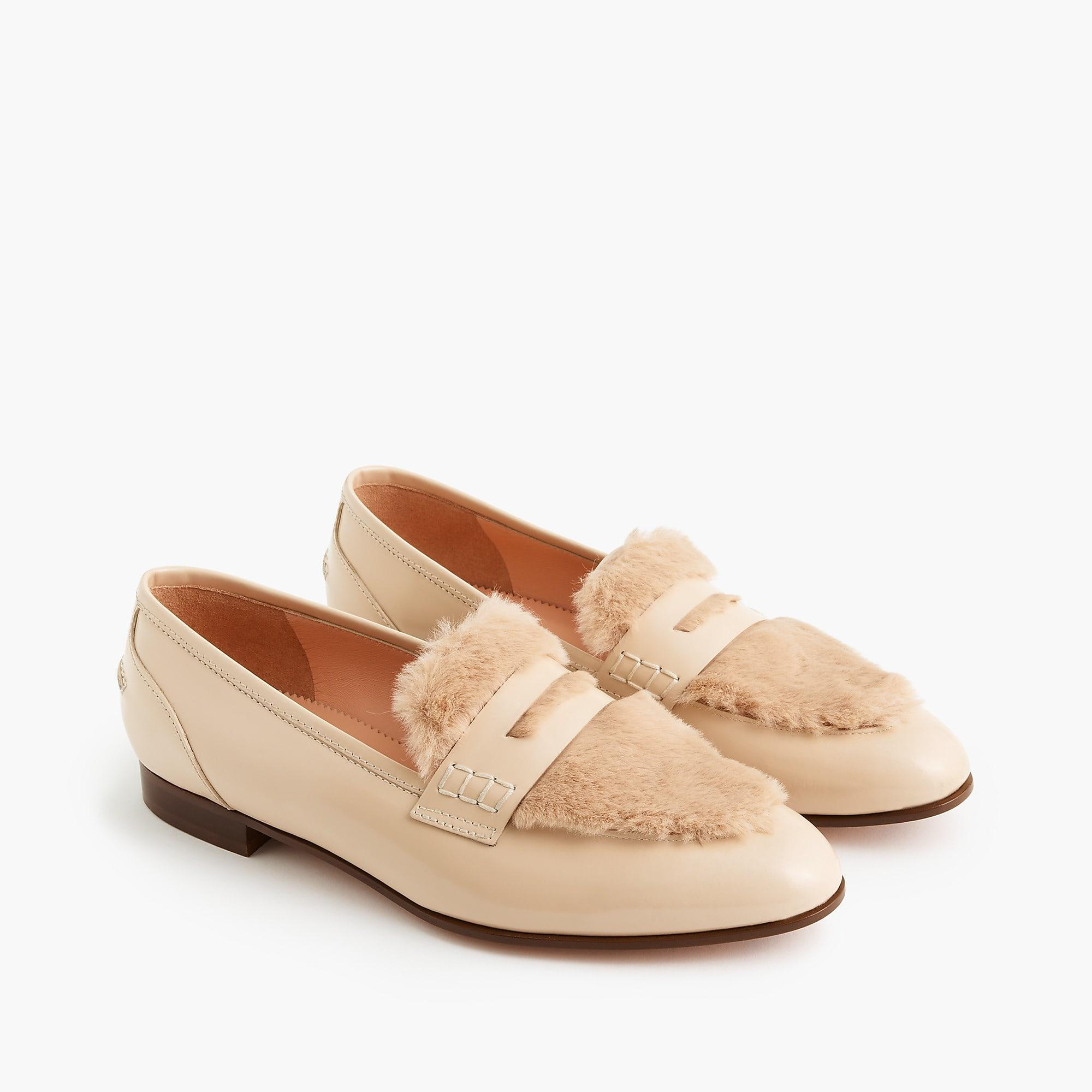 J.Crew Academy Penny Loafers With Faux-fur Trim in Natural ...