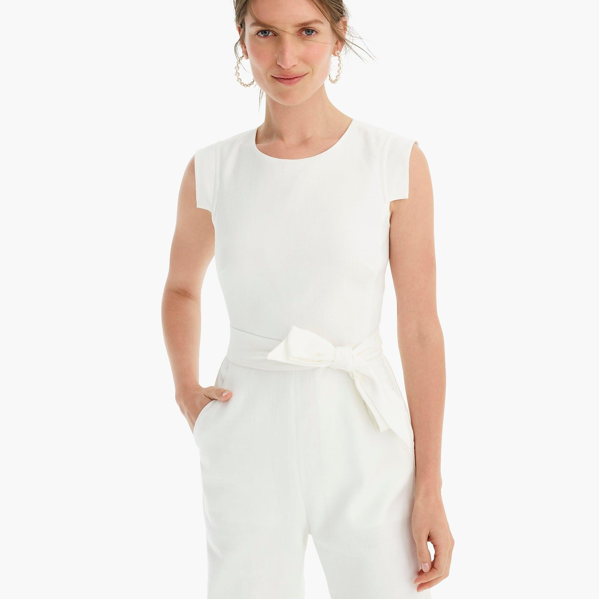 J Crew Resume Jumpsuit In Stretch Linen In White Lyst