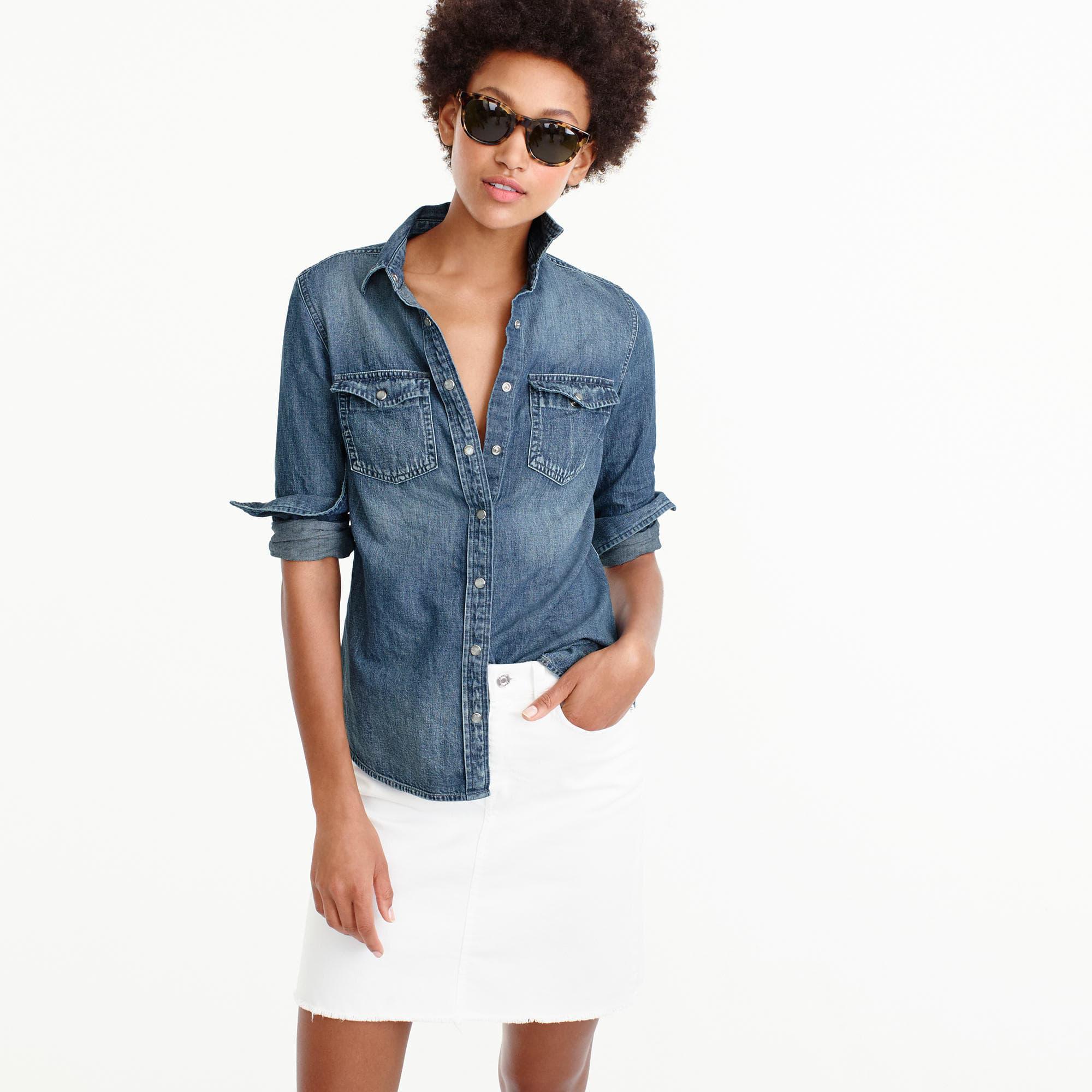 95e77a2ada Women's Blue Western Chambray Shirt In Vintage Indigo