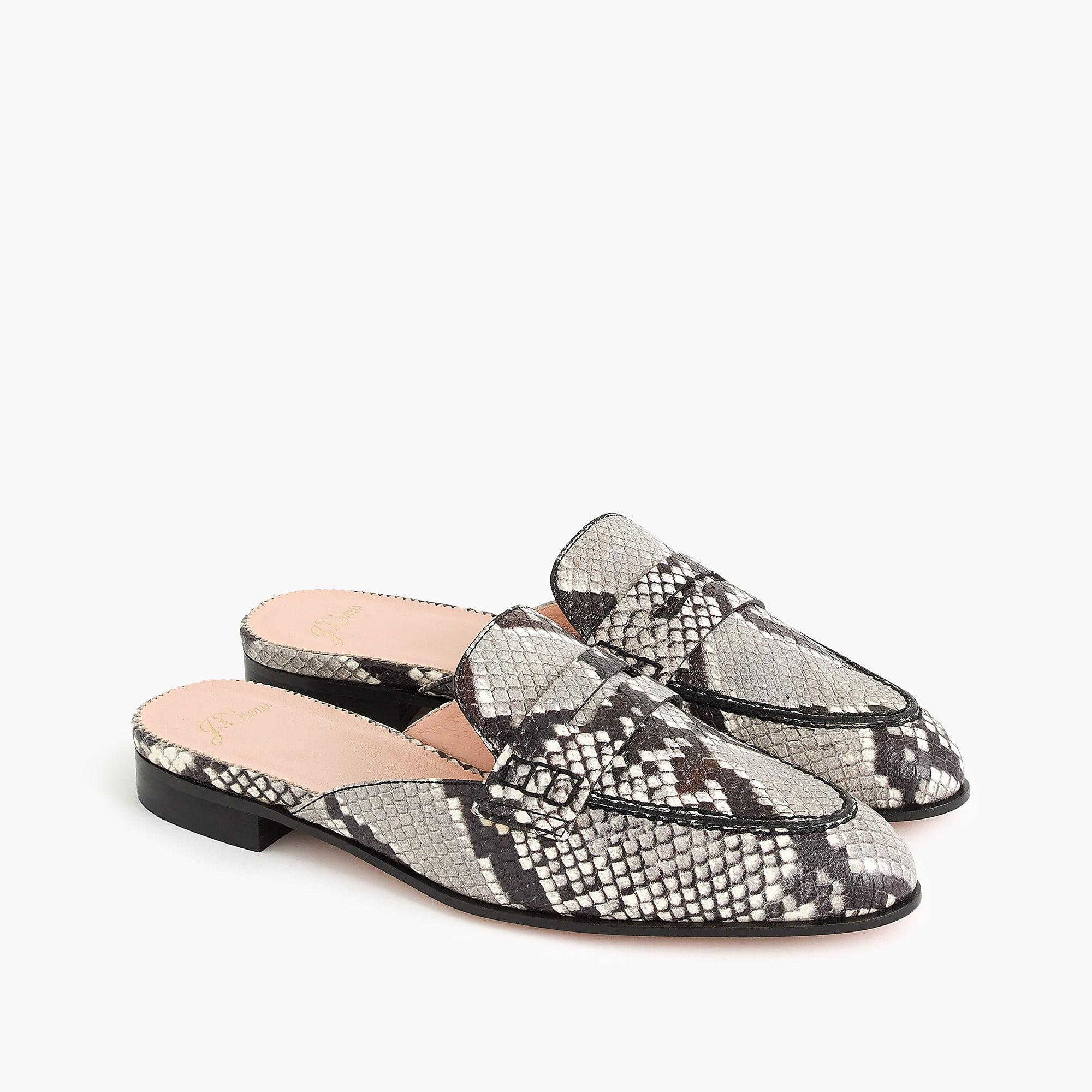 57d66cd609e Lyst - J.Crew Academy Penny Loafer Mules In Faux Snakeskin