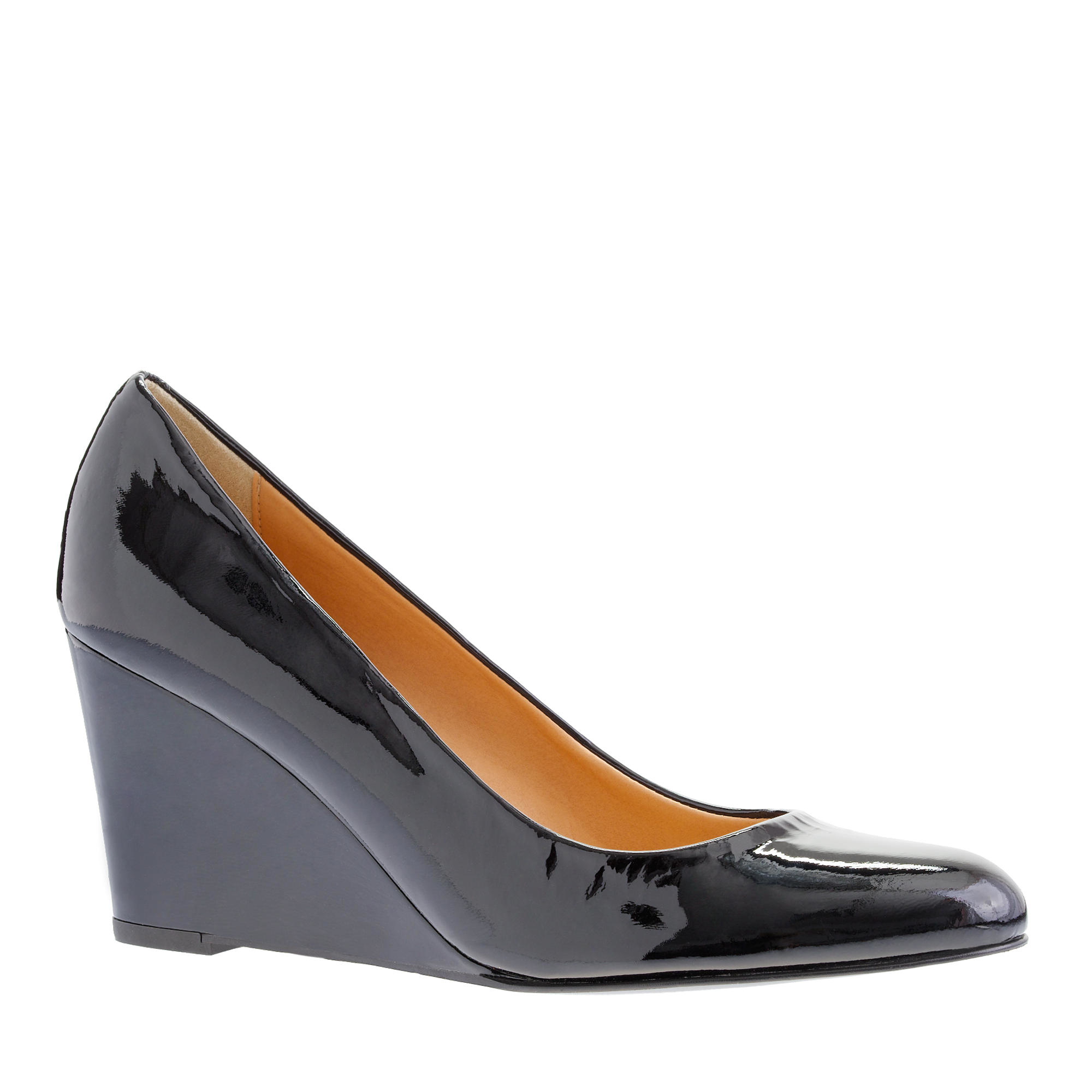 j crew martina patent wedges in blue lyst