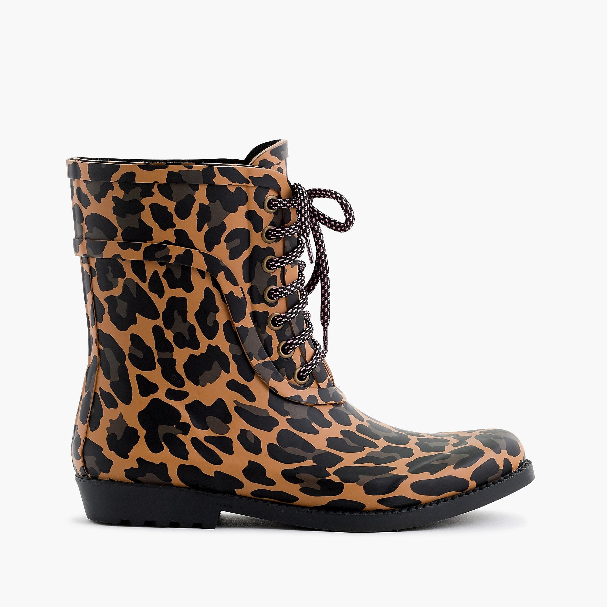 J.Crew Rubber Lace-up Rain Boots In