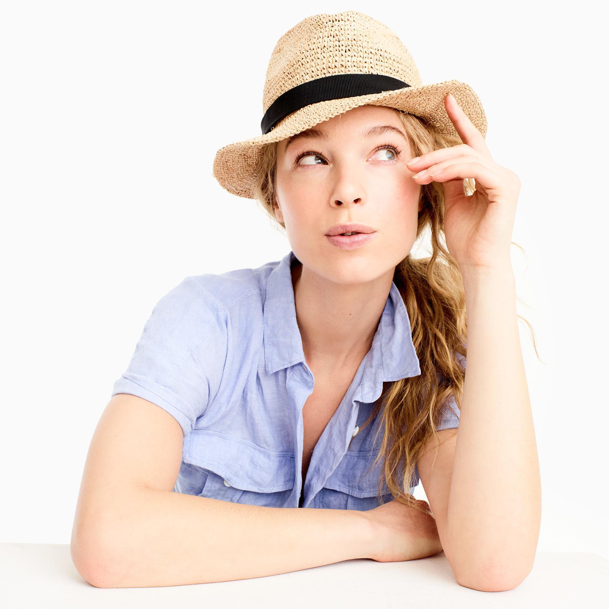 3505555a405a J.Crew Brown Packable Straw Hat. View fullscreen