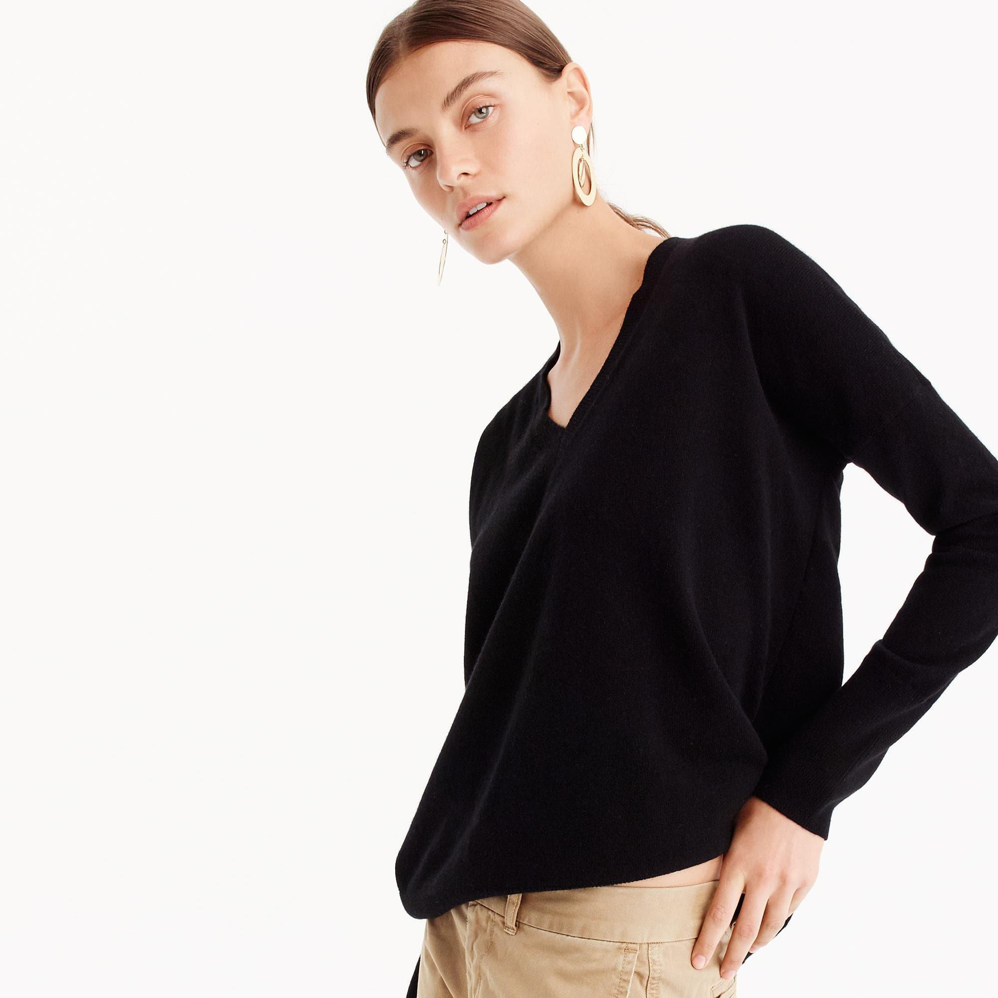 J.crew V-neck Boyfriend Sweater In Everyday Cashmere in Black for ...