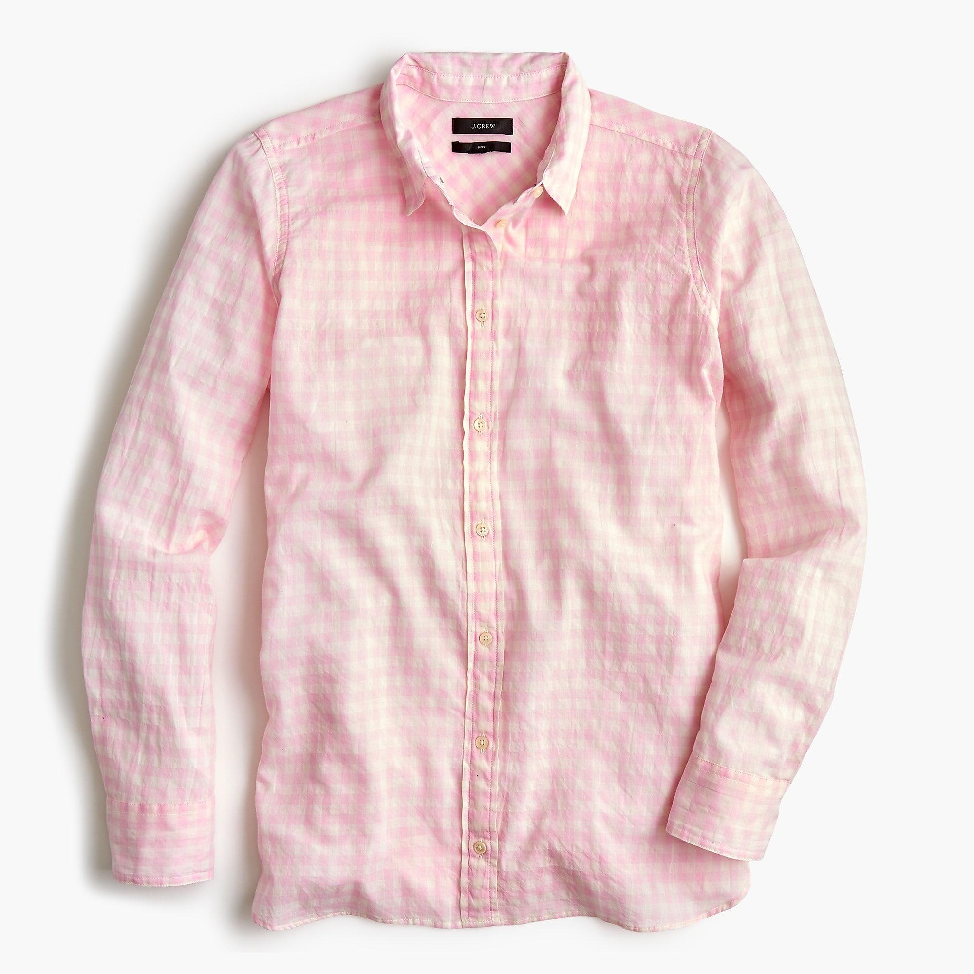 fbc99fef861 J.Crew Petite Classic-fit Boy Shirt In Crinkle Gingham in Pink for ...