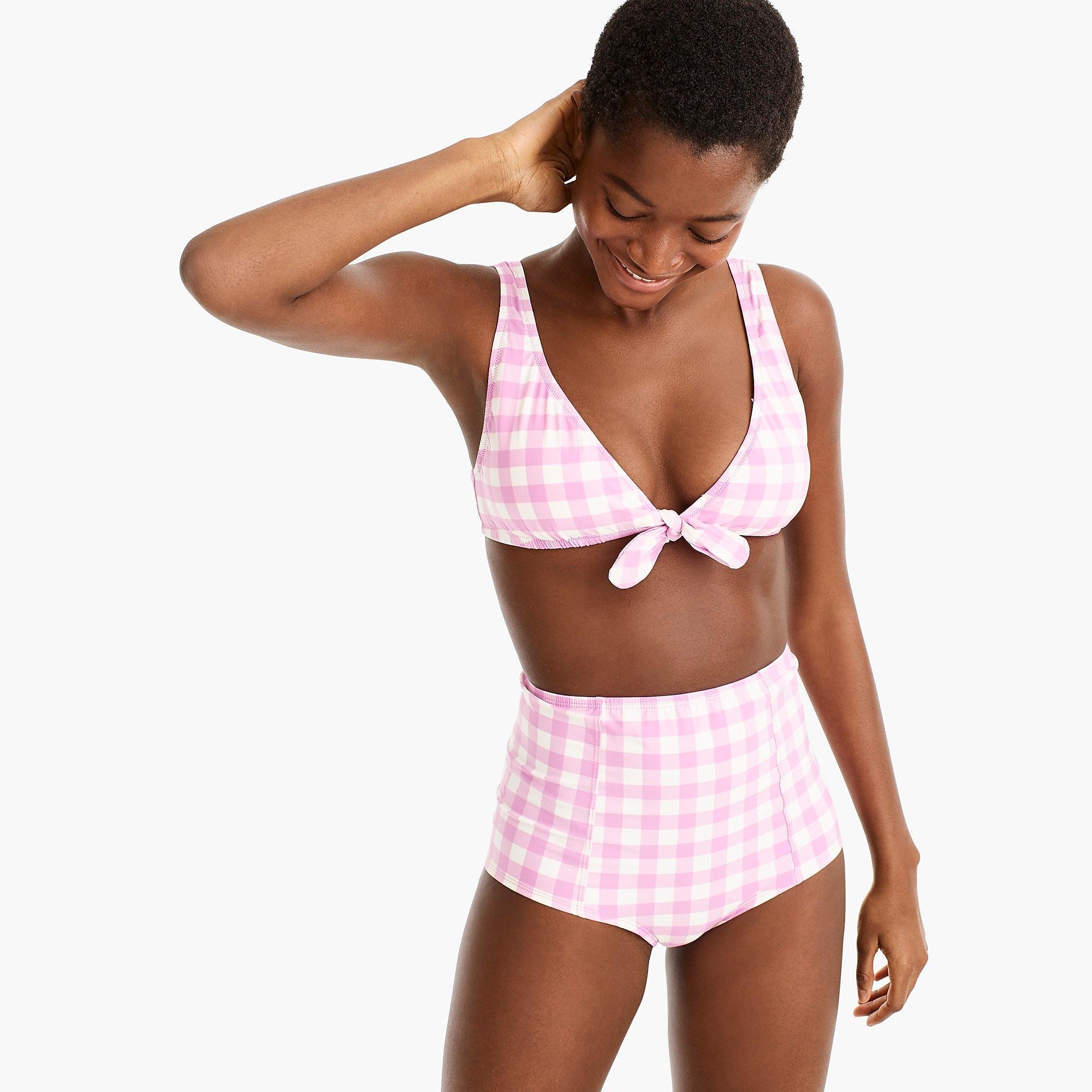 b8a395e49a991 J.Crew. Women s Tie-front Scoopback Bikini Top In Oversized Matte Gingham