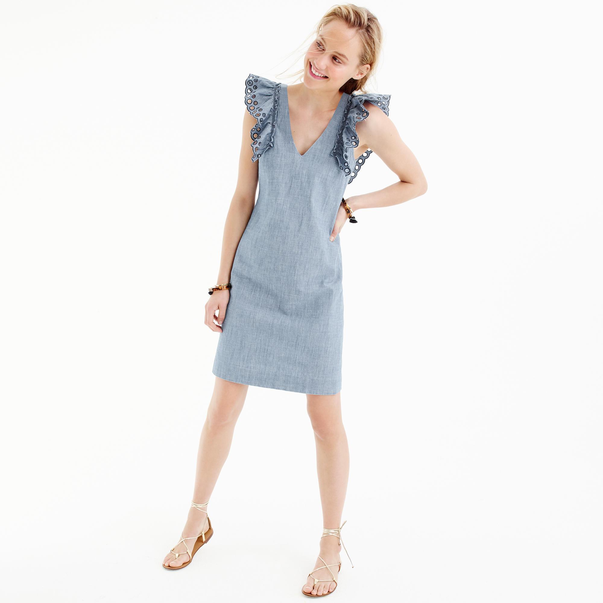 3d2fce4cc4d2 J.Crew Chambray Ruffle-shoulder Sheath Dress in Blue - Lyst