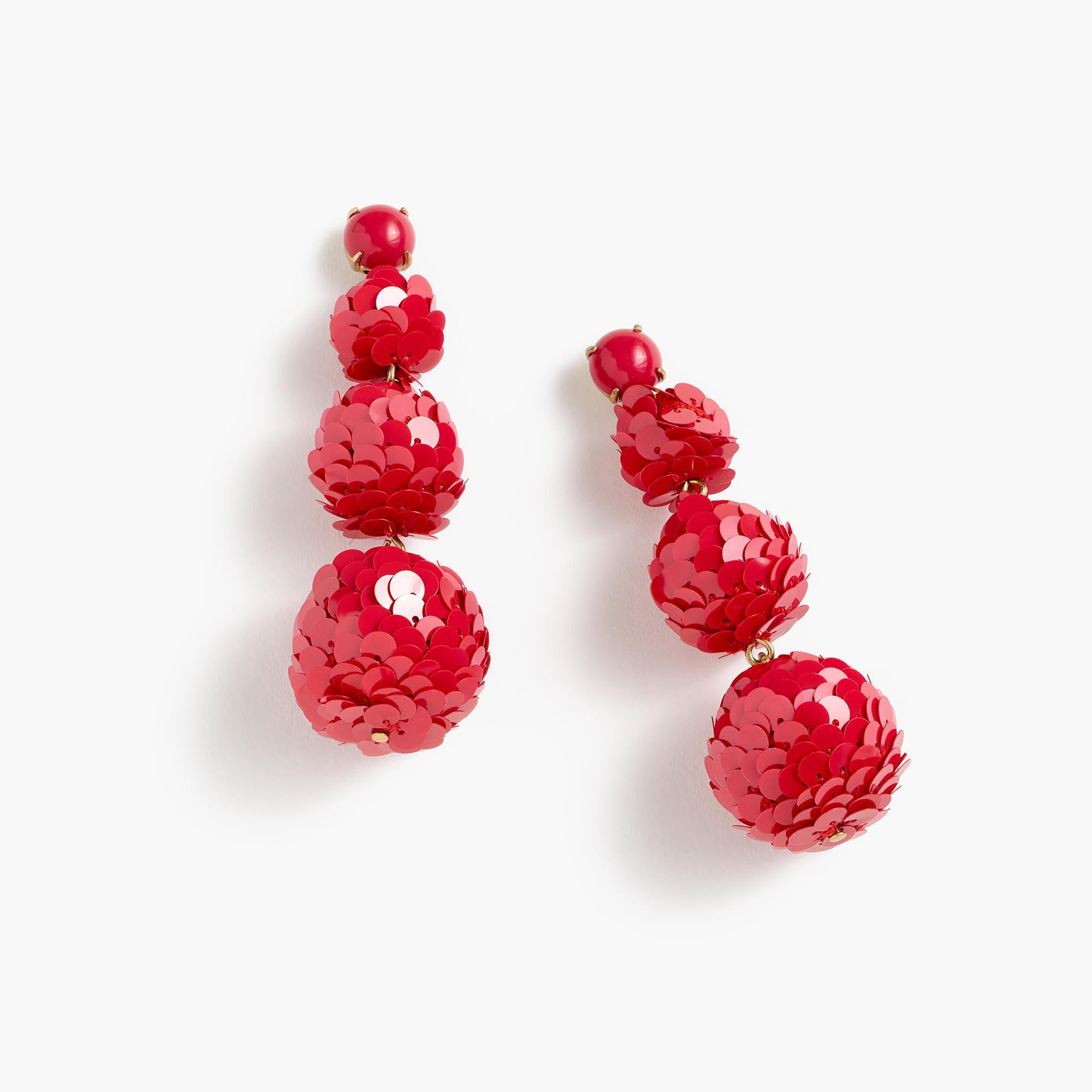 c2687700525 Lyst J Crew Sequin Ball Drop Earrings In Red. J Crew Leather Backed Sequin  Petal ...