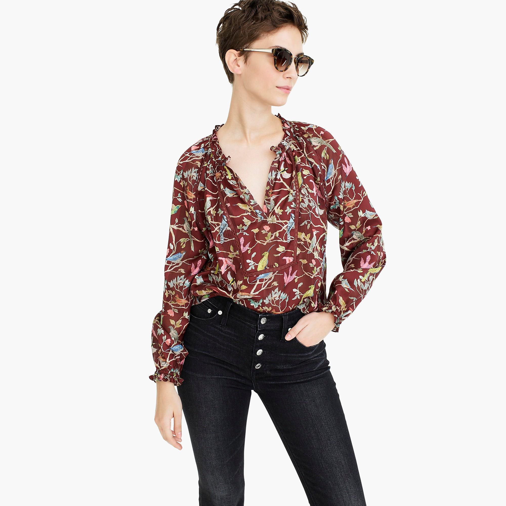 8631430f4b859e J.Crew Point Sur Ruffle-neck Popover In Menagerie Print in Red - Lyst