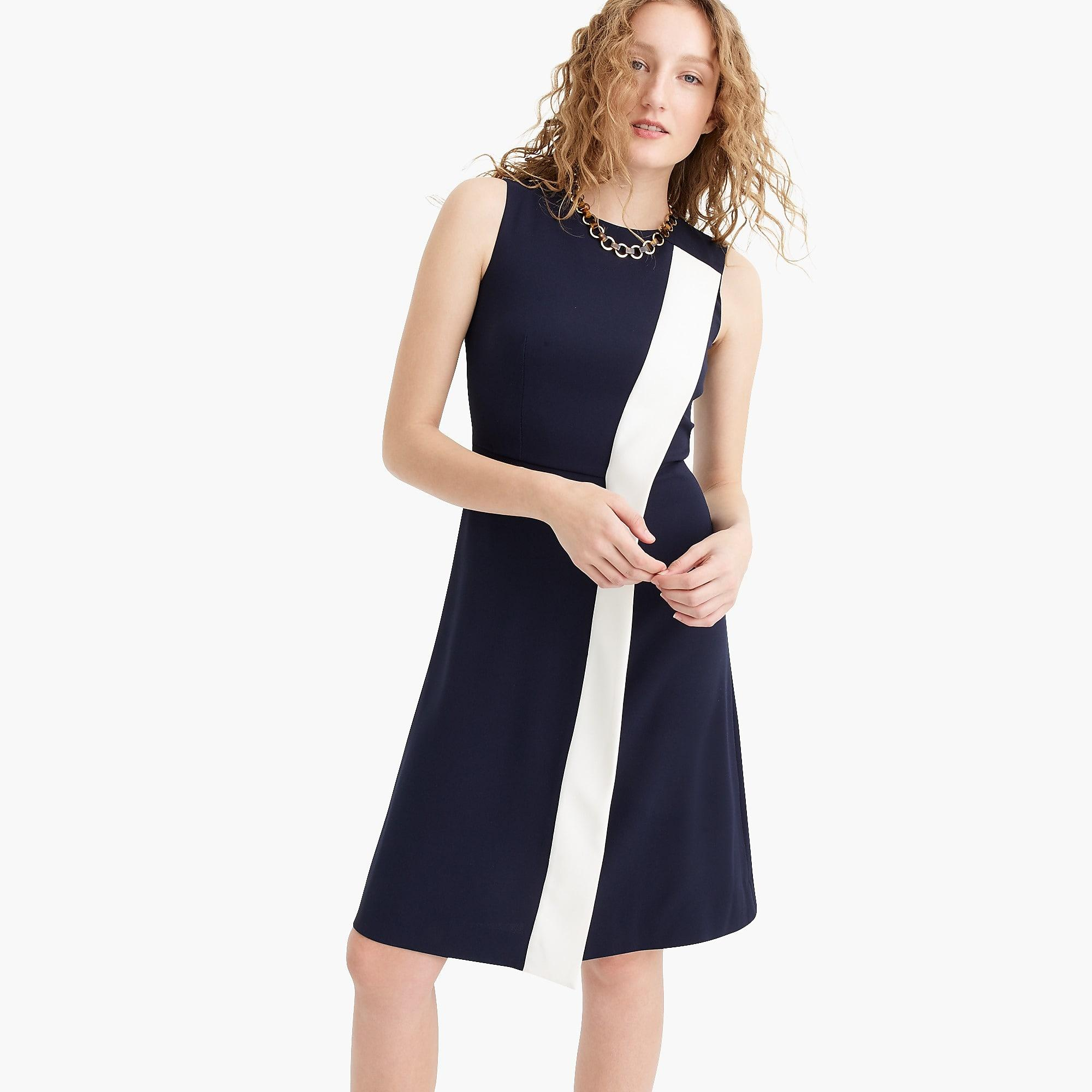 045a2d254 J.Crew Petite Asymmetrical Striped Sheath Dress In 365 Crepe in Blue ...