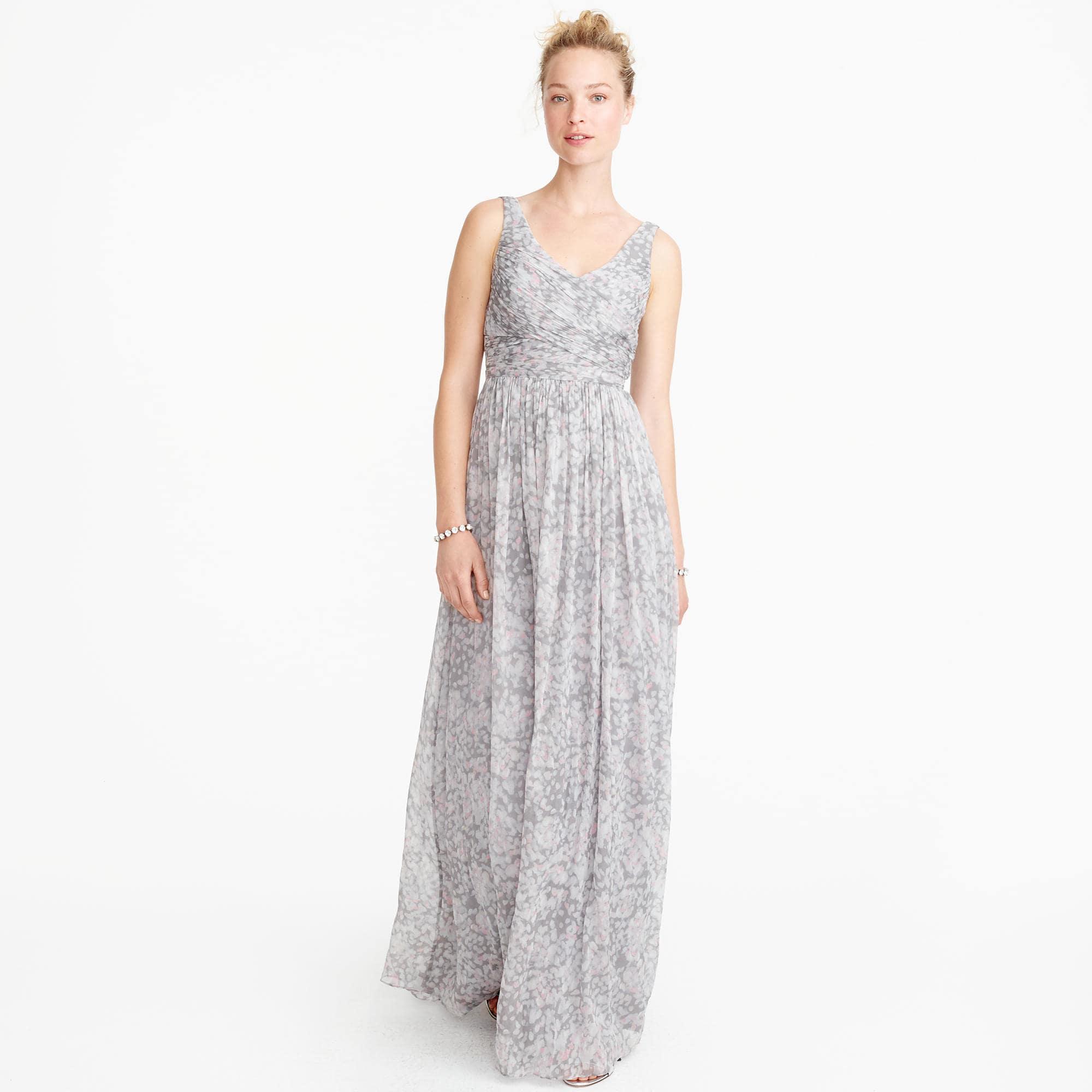 J Crew Gray Heidi Long Dress In Watercolor Silk Chiffon