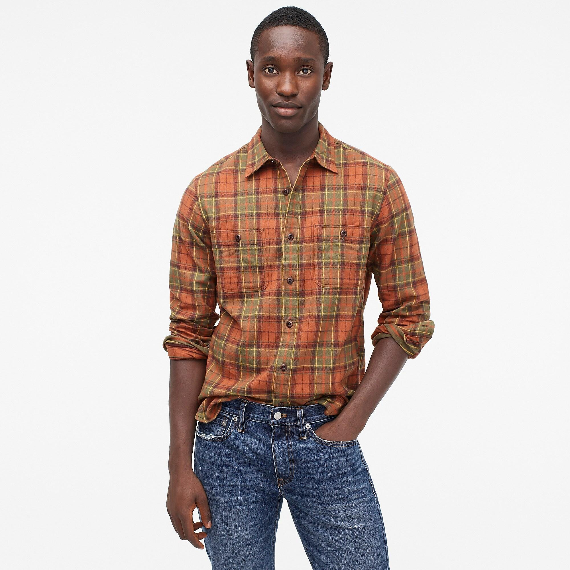 J.Crew Midweight Flannel Shirt In Burnt Orange Plaid for ...
