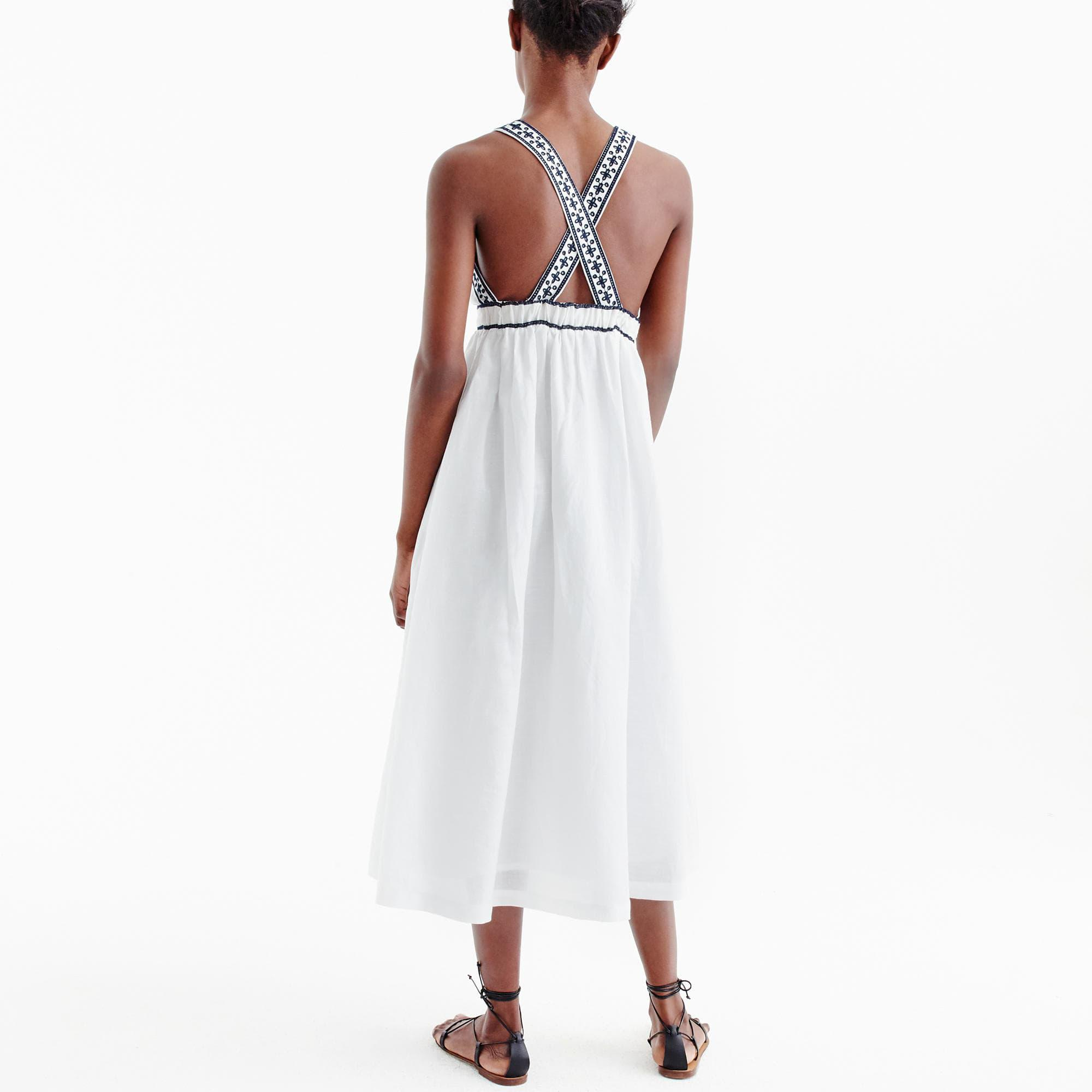 Lyst J Crew Embroidered Cross Back Maxi Dress In White