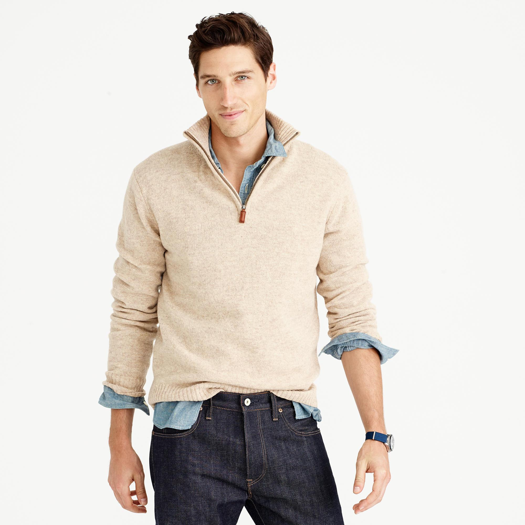 Tall lambswool half zip sweater in natural for men for Big and tall quick dry shirts
