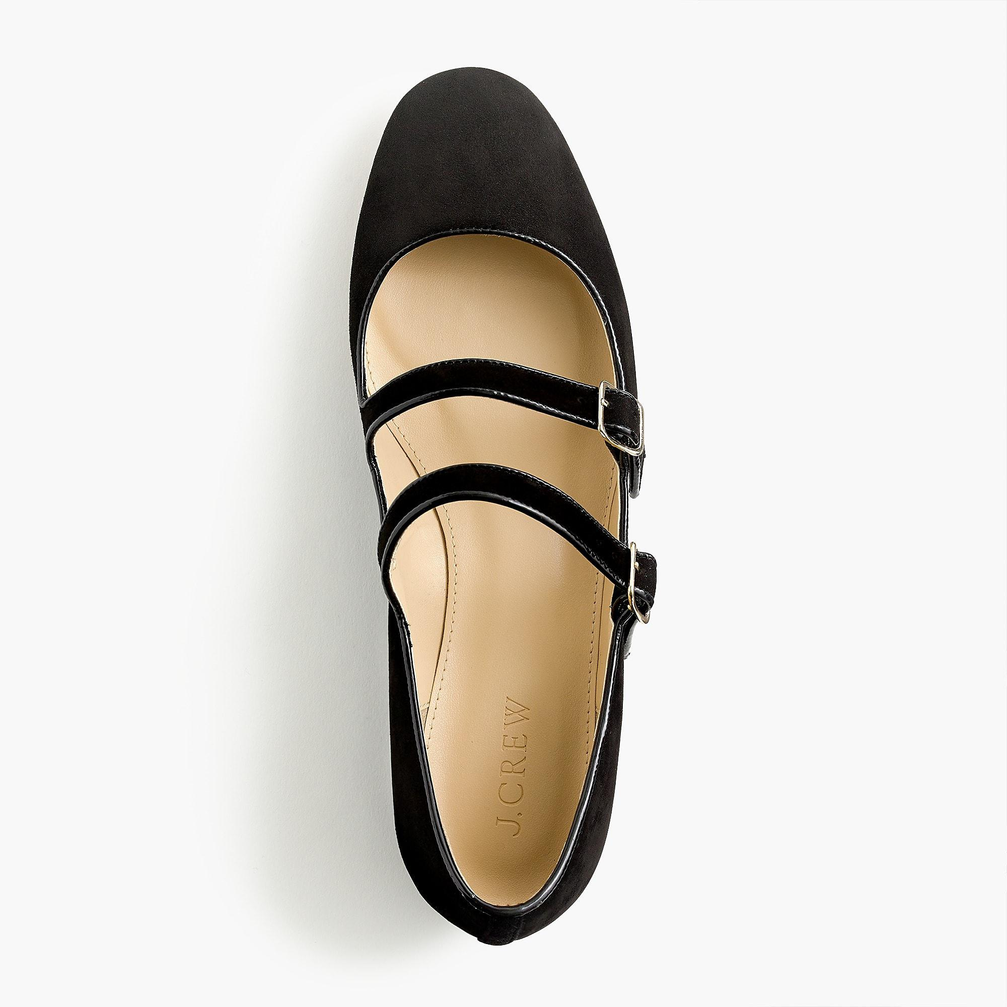 Lyst - J.Crew Multistrap Mary Jane Flats In Suede in Black