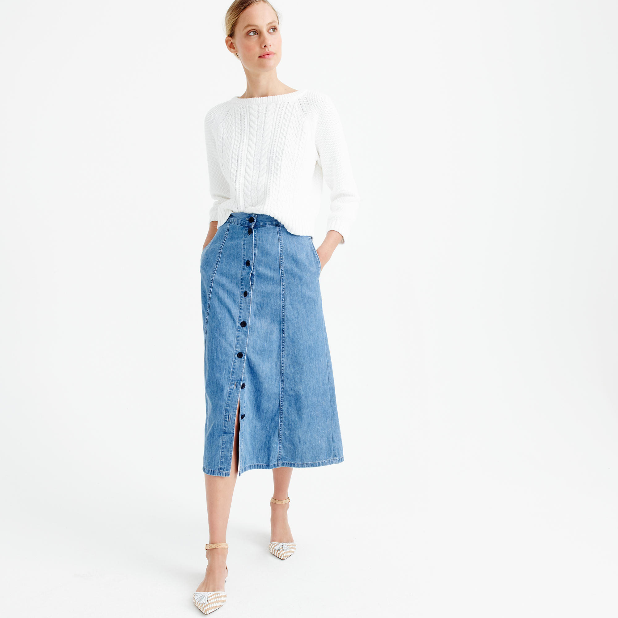 j crew button front midi skirt in blue lyst