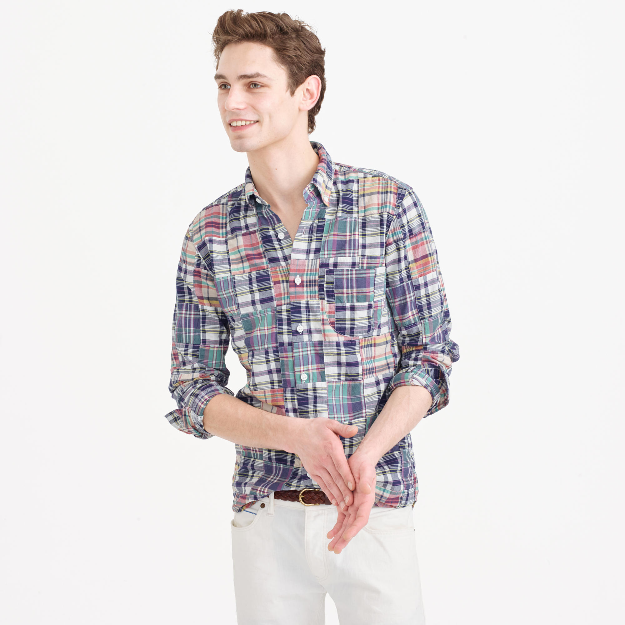 j crew slim indian madras shirt in patchwork for lyst