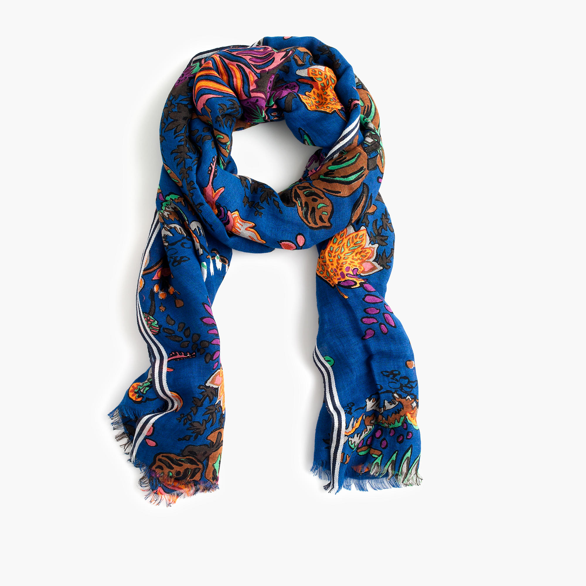 j crew tropical floral printed scarf in blue lyst
