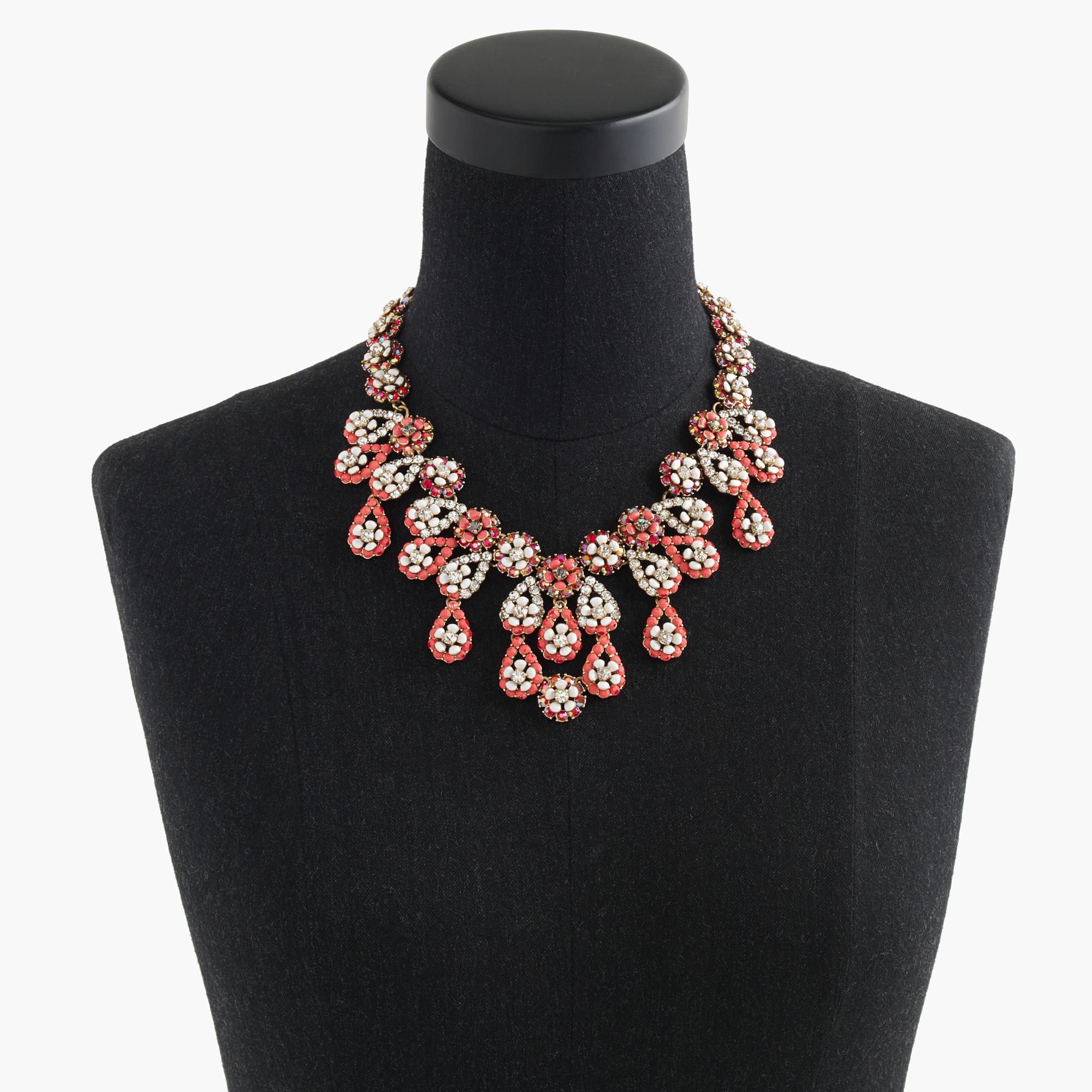 J.Crew Floral Chandelier Necklace in Orange
