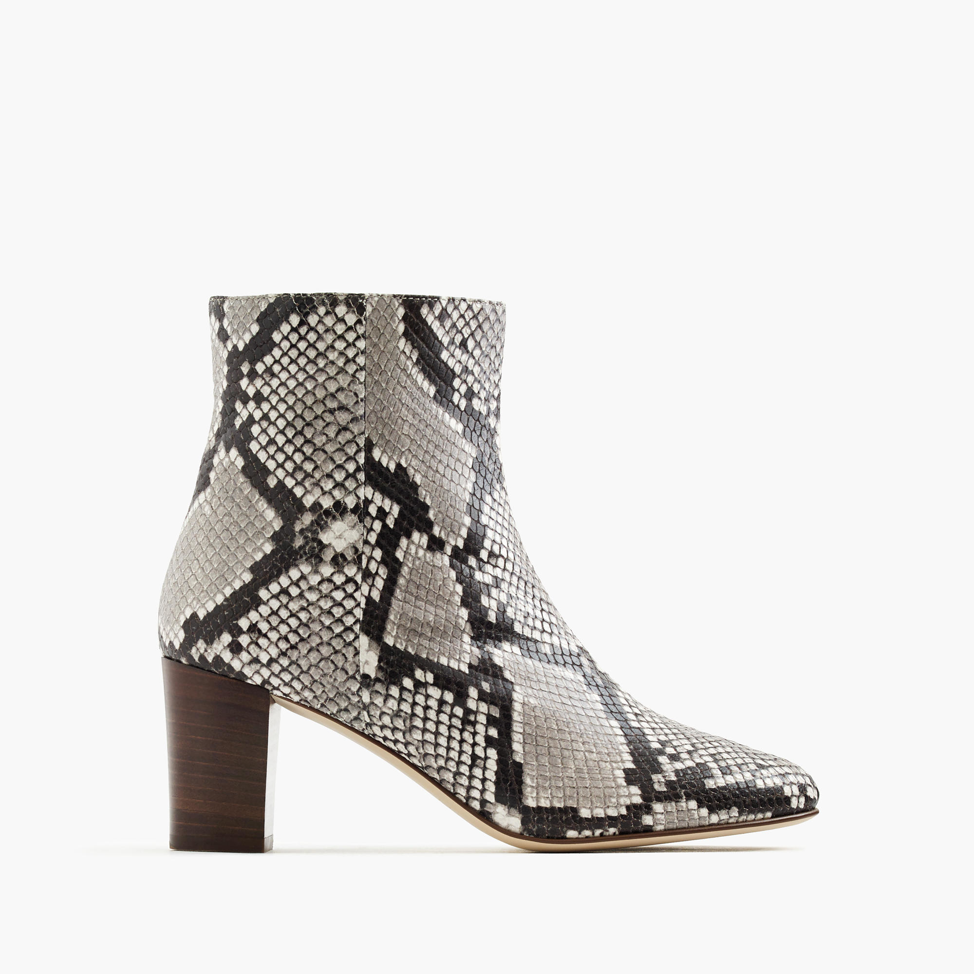 j crew heeled ankle boots in snakeskin printed leather in