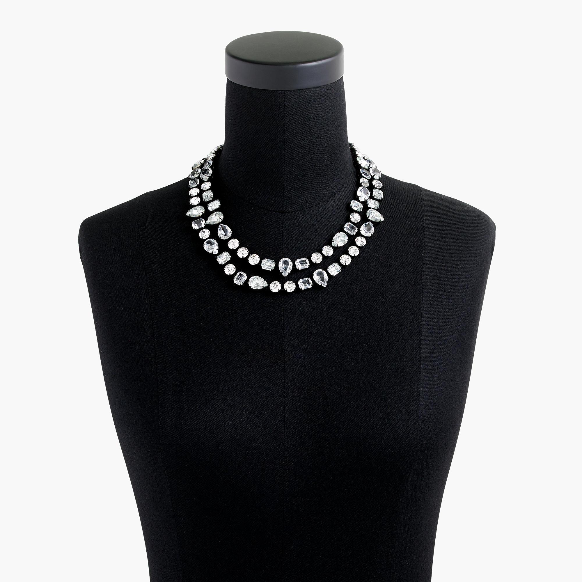 J.Crew Double-strand Crystal Necklace in Metallic