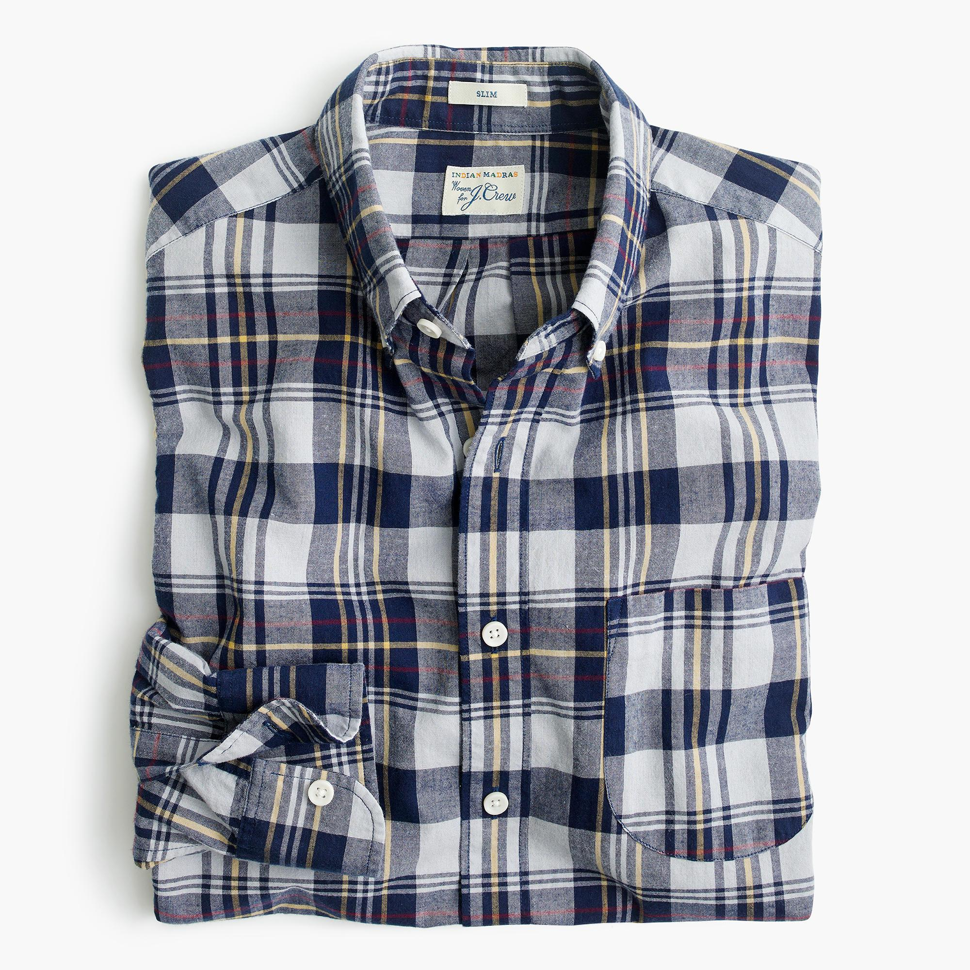 Madras shirt in ocean sun in blue for men lyst for Blue and yellow plaid dress shirt